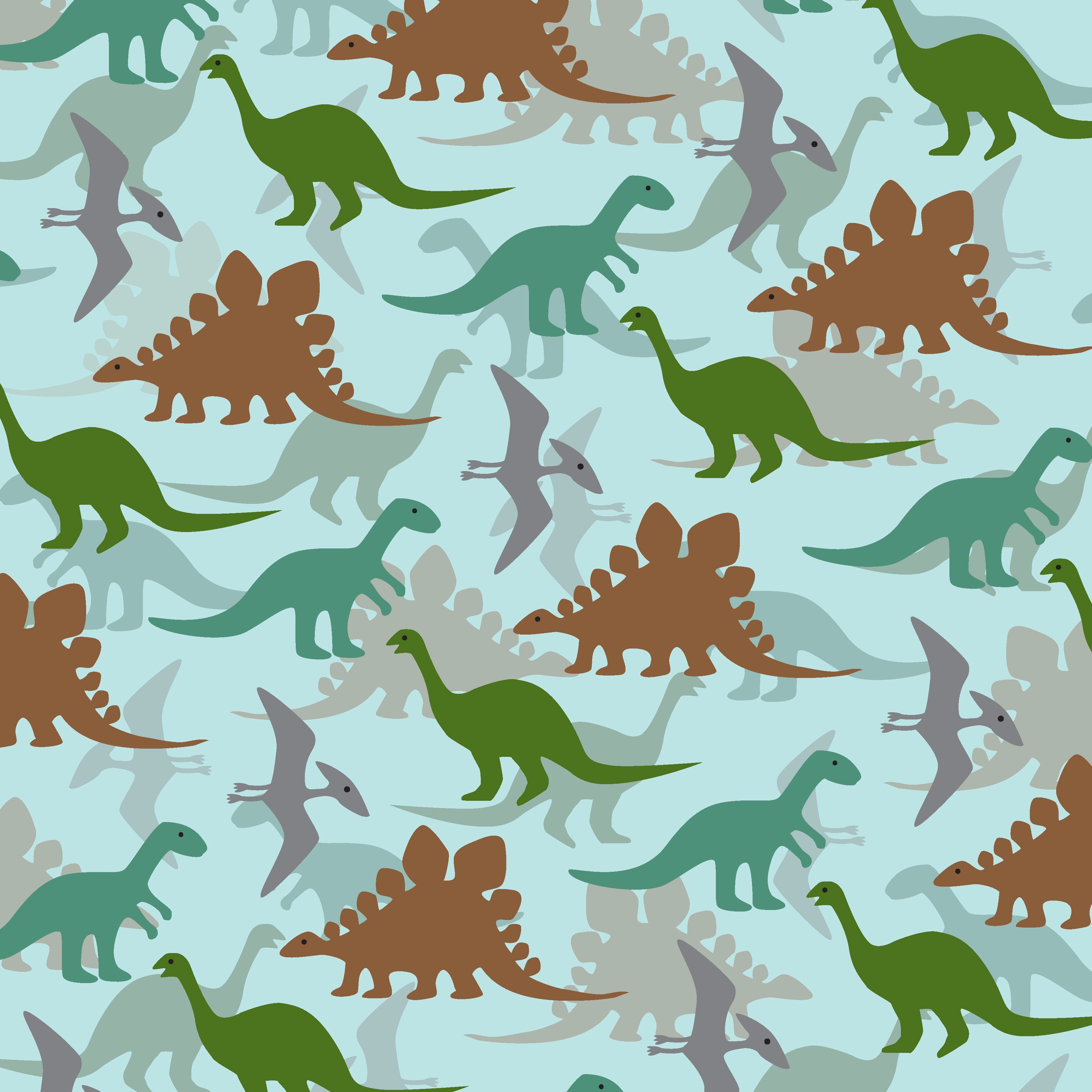 Layered Dinosaur Pattern On Blue Background