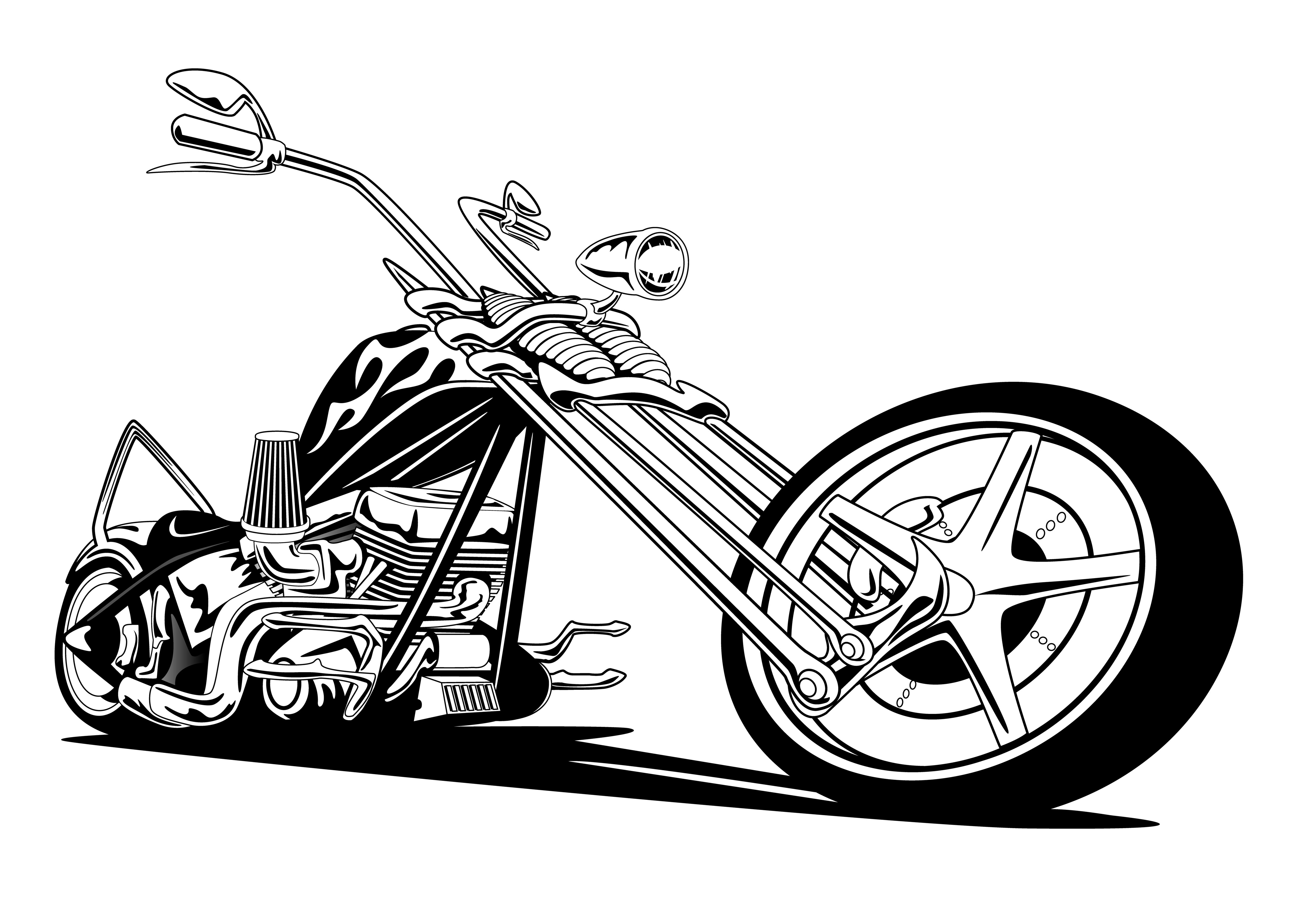Custom American Chopper Motorcycle Vector Illustration
