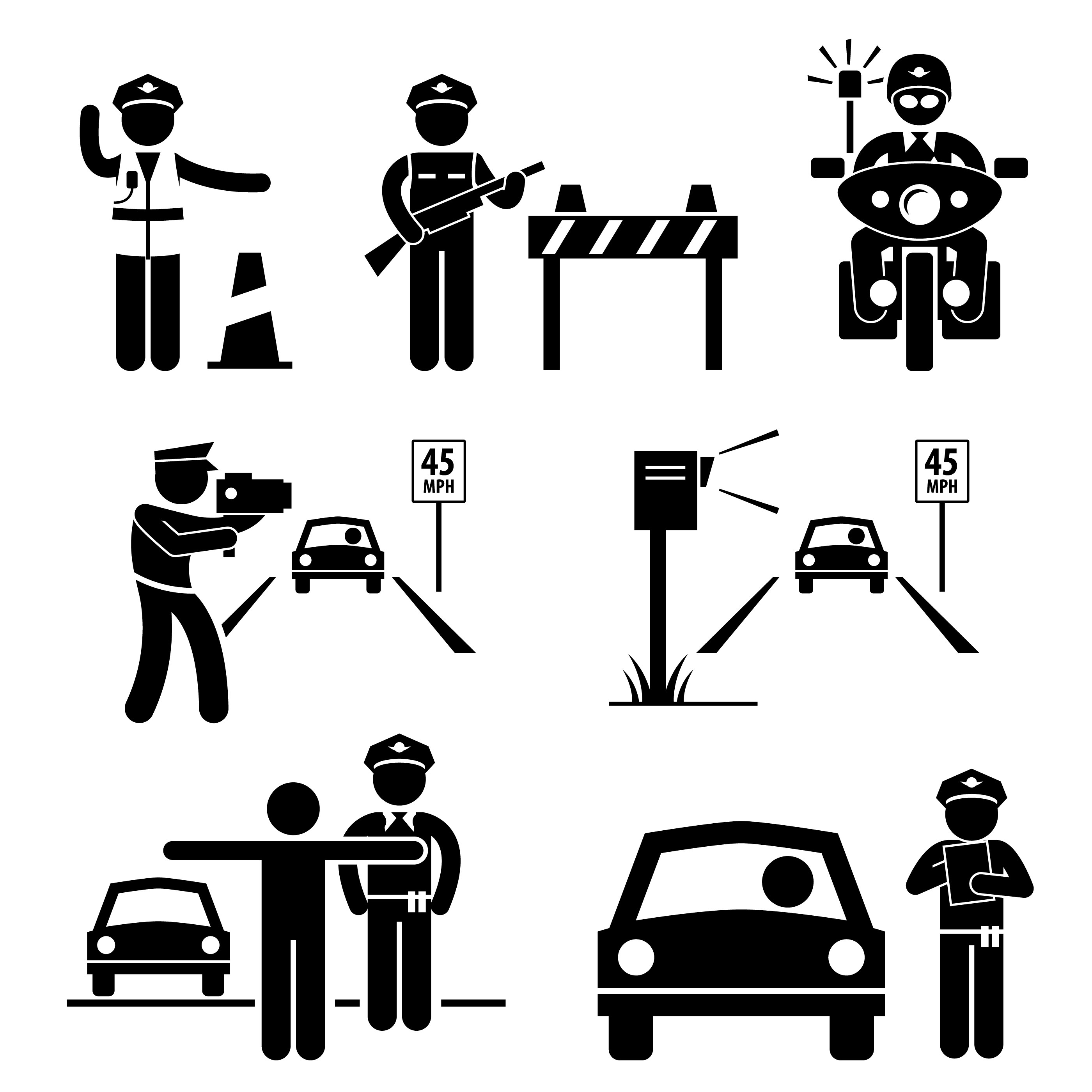 Police Officer Traffic On Duty Stick Figure Pictogram Icon