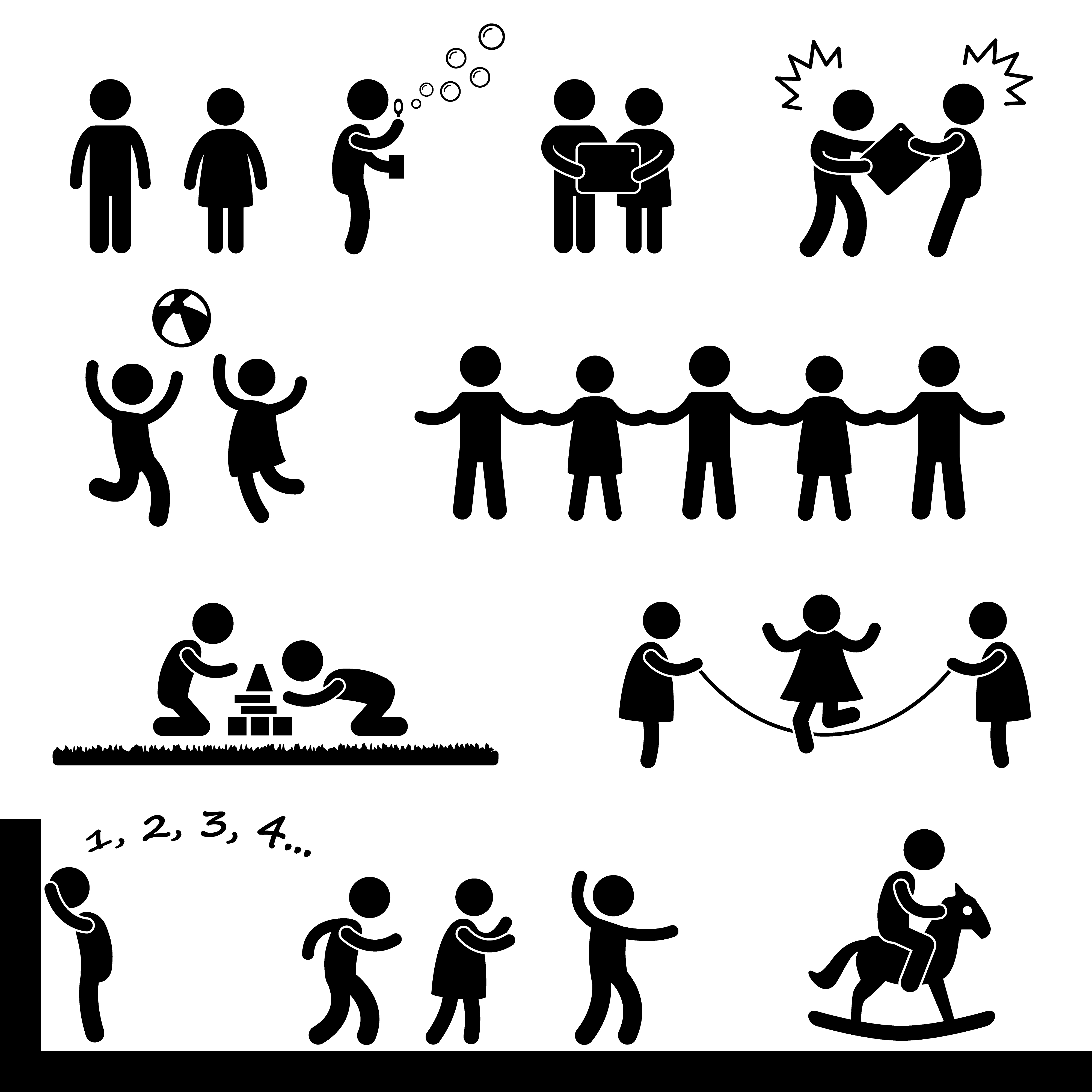 Happy Children Playing Icon Symbol Sign Pictogram
