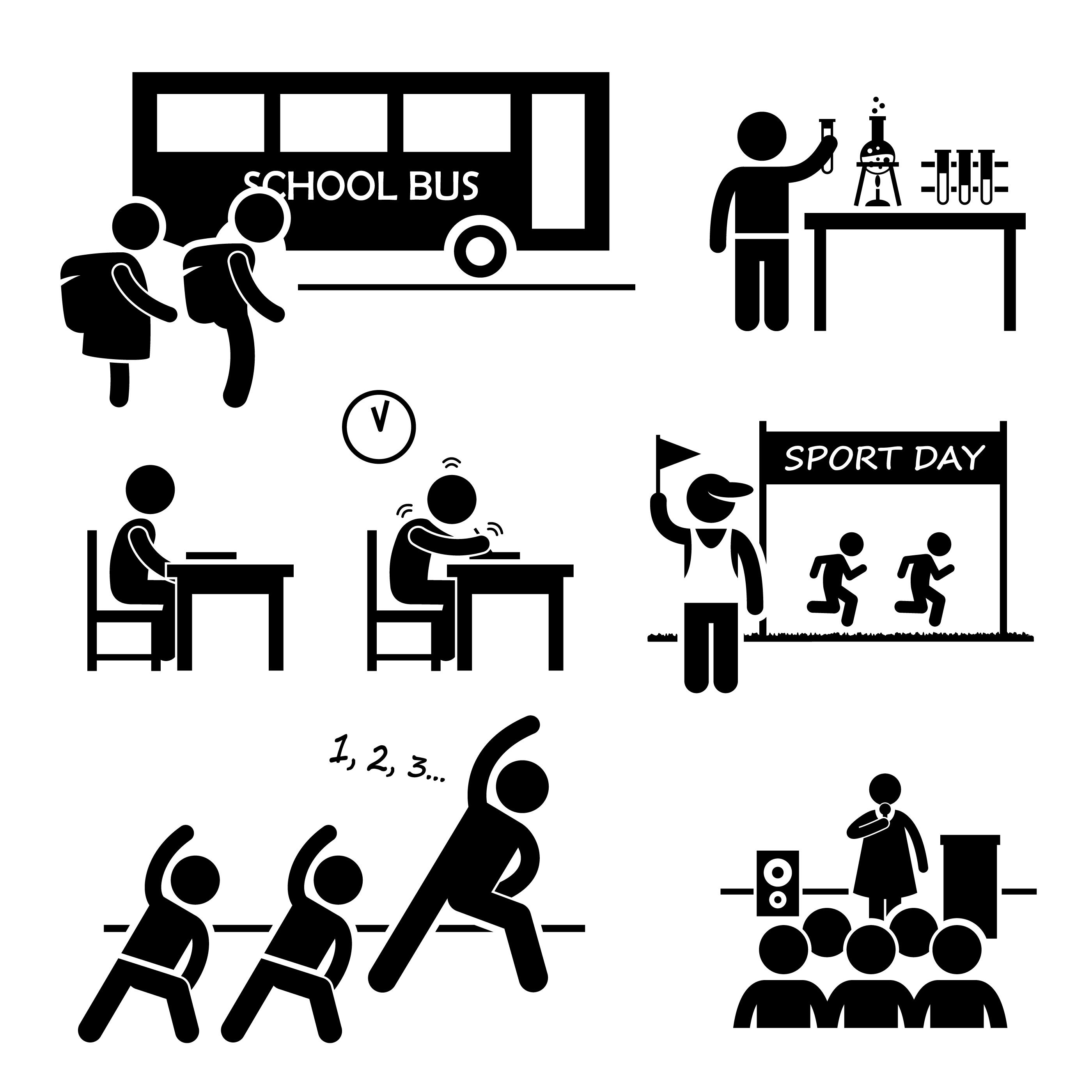 School Activity Event For Student Stick Figure Pictogram
