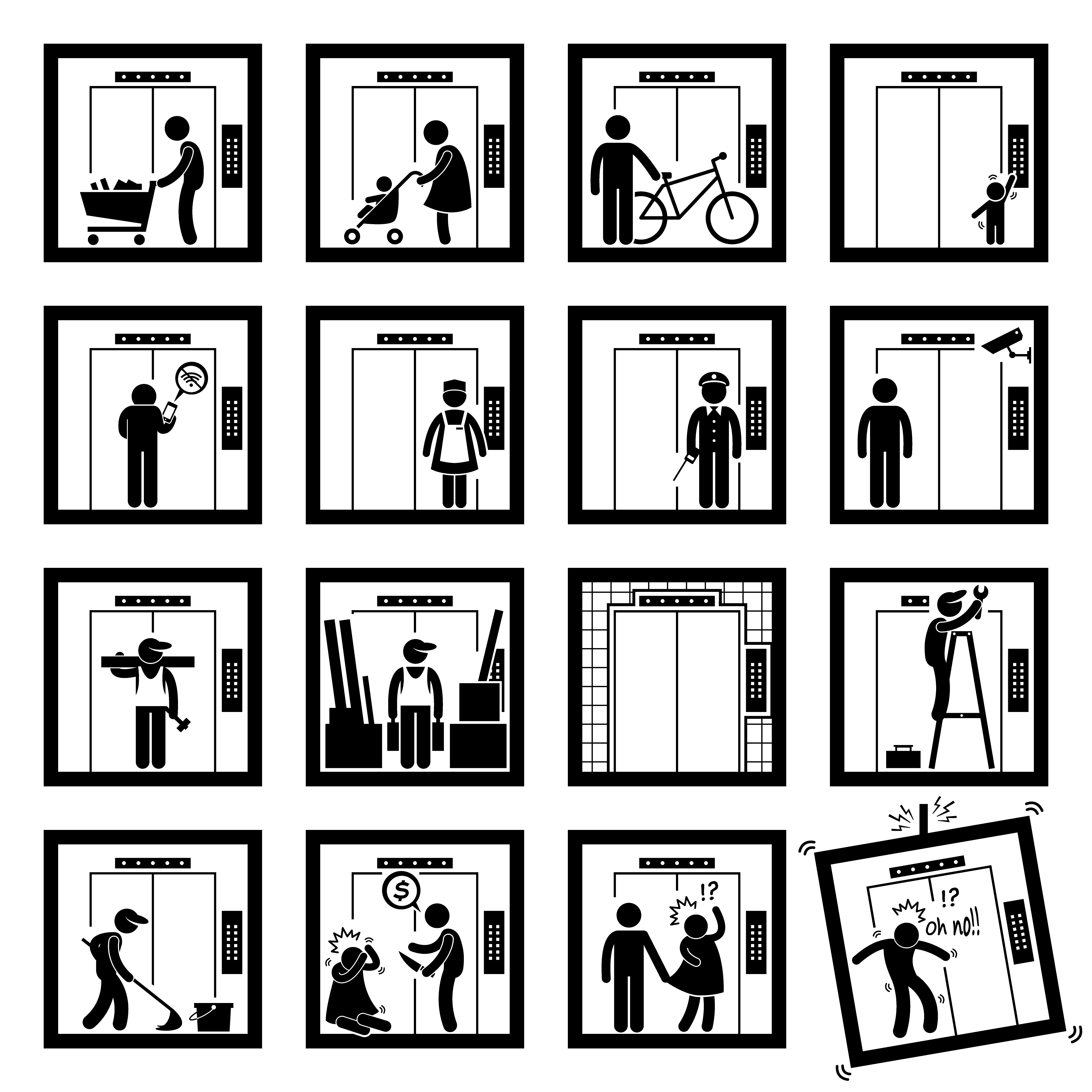 Things That People Do Inside Elevator Lift Stick Figure