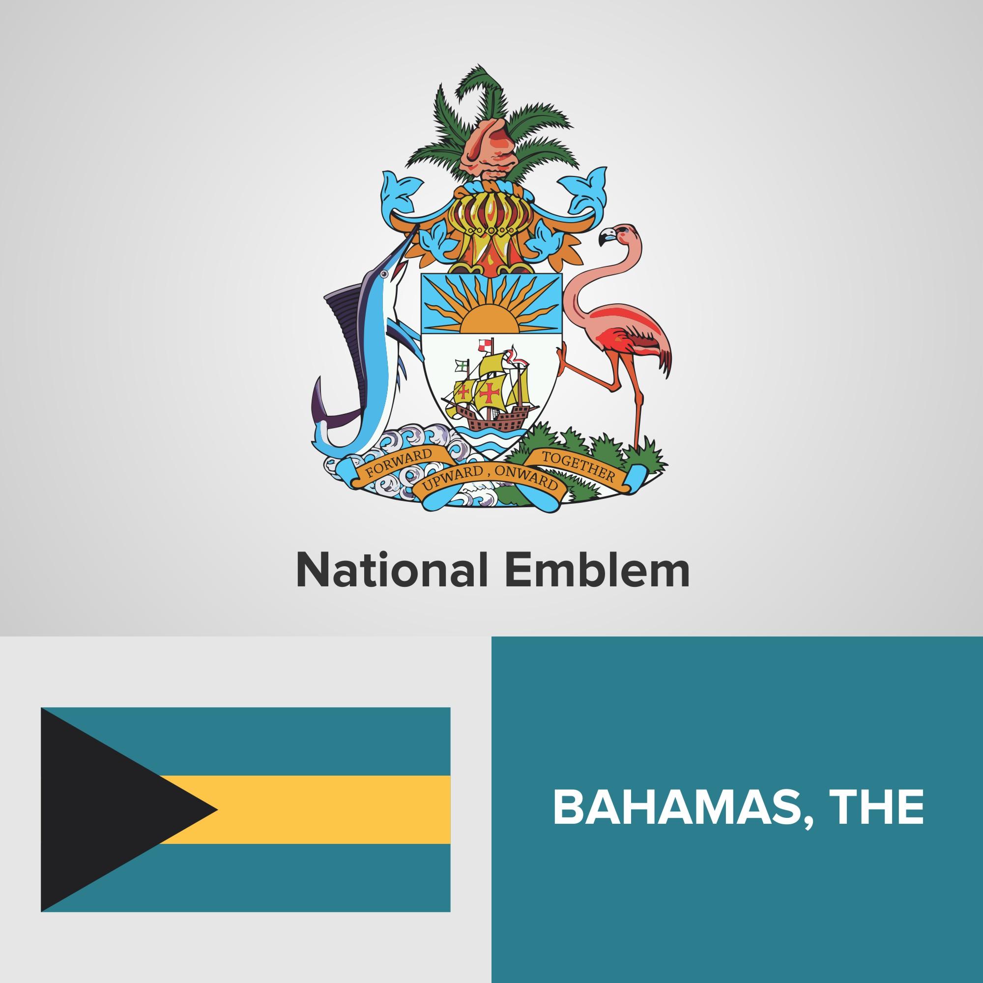 Bahamas National Emblem Map And Flag