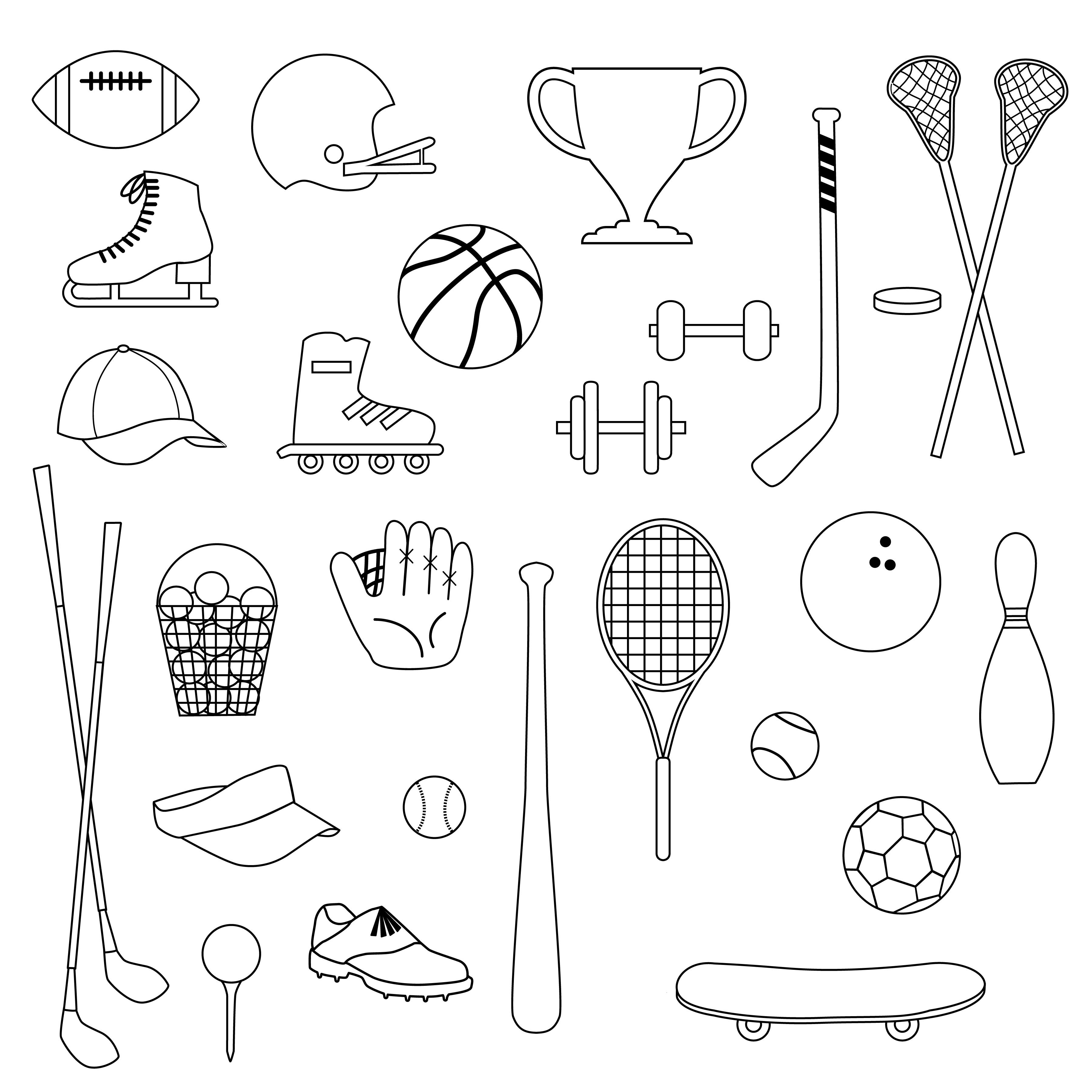 Black Outline Sports Equipment Digital Stamps