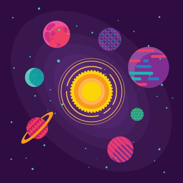 Set of unusual colorful vivid planets on universe ...