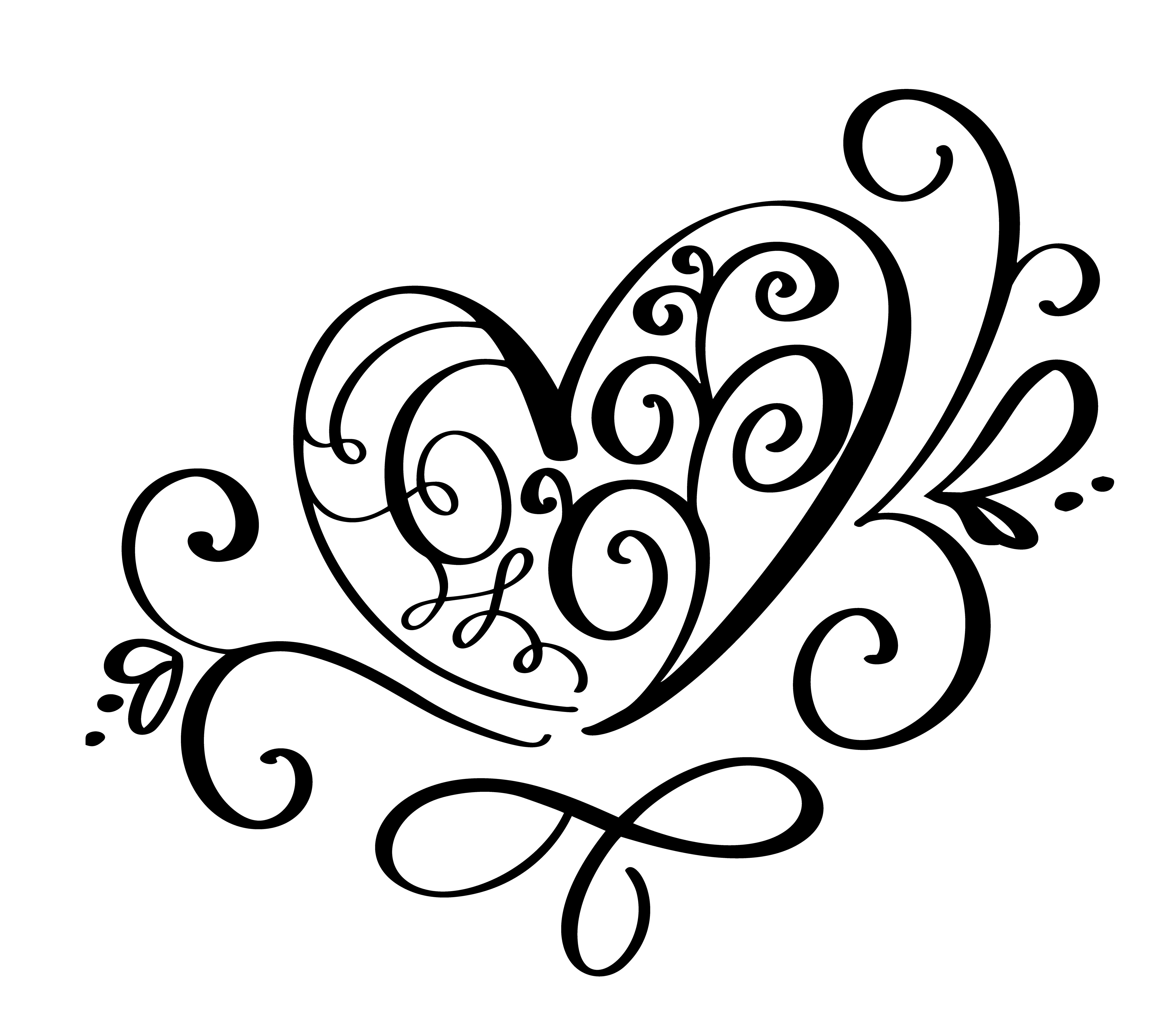 Vector Valentines Day Of Flourish Calligraphy Vintage