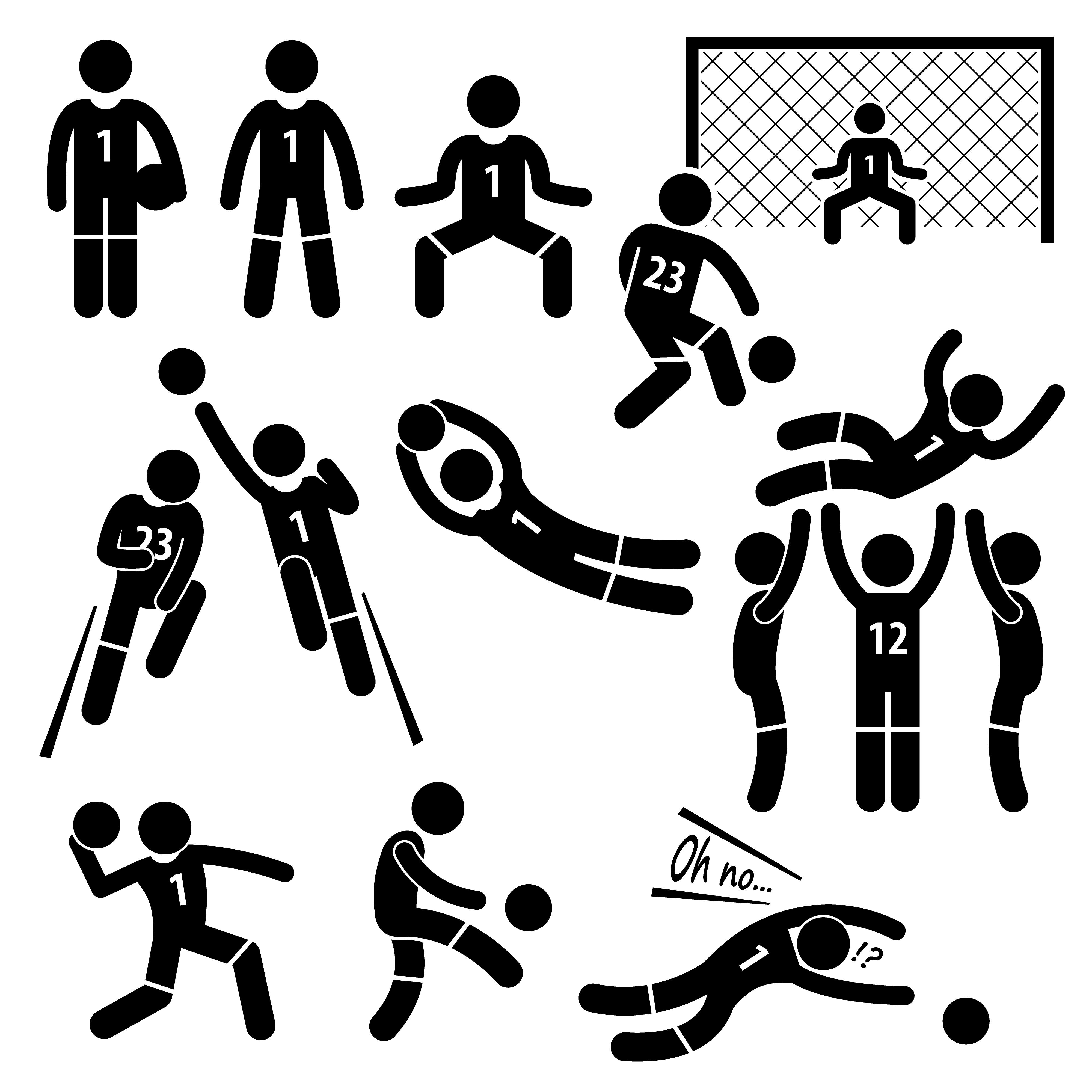 Goalkeeper Actions Football Soccer Stick Figure Pictogram