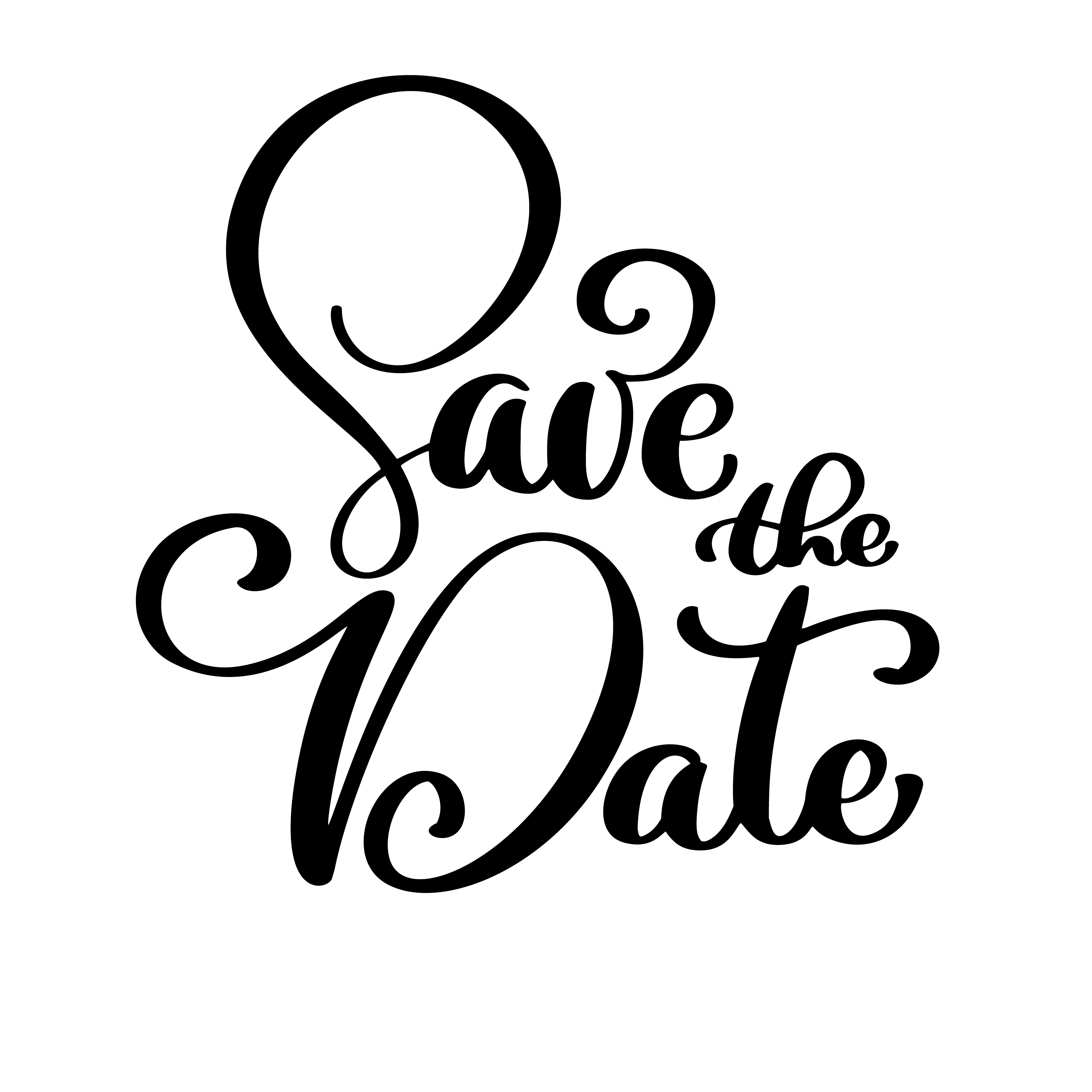 Save The Date Text Calligraphy Vector Lettering For