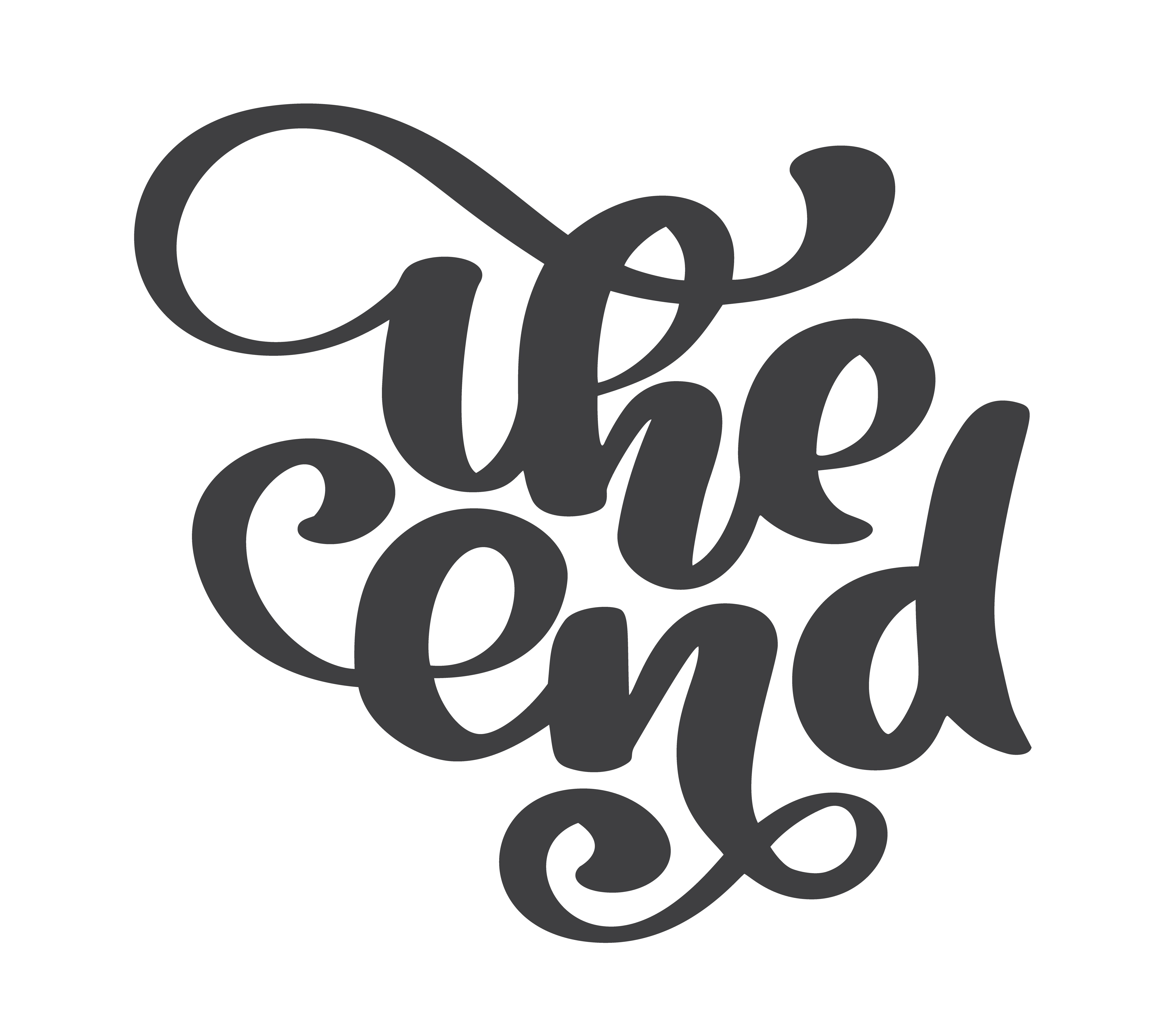 Hand Drawn The End Vector Text Lettering Phrase