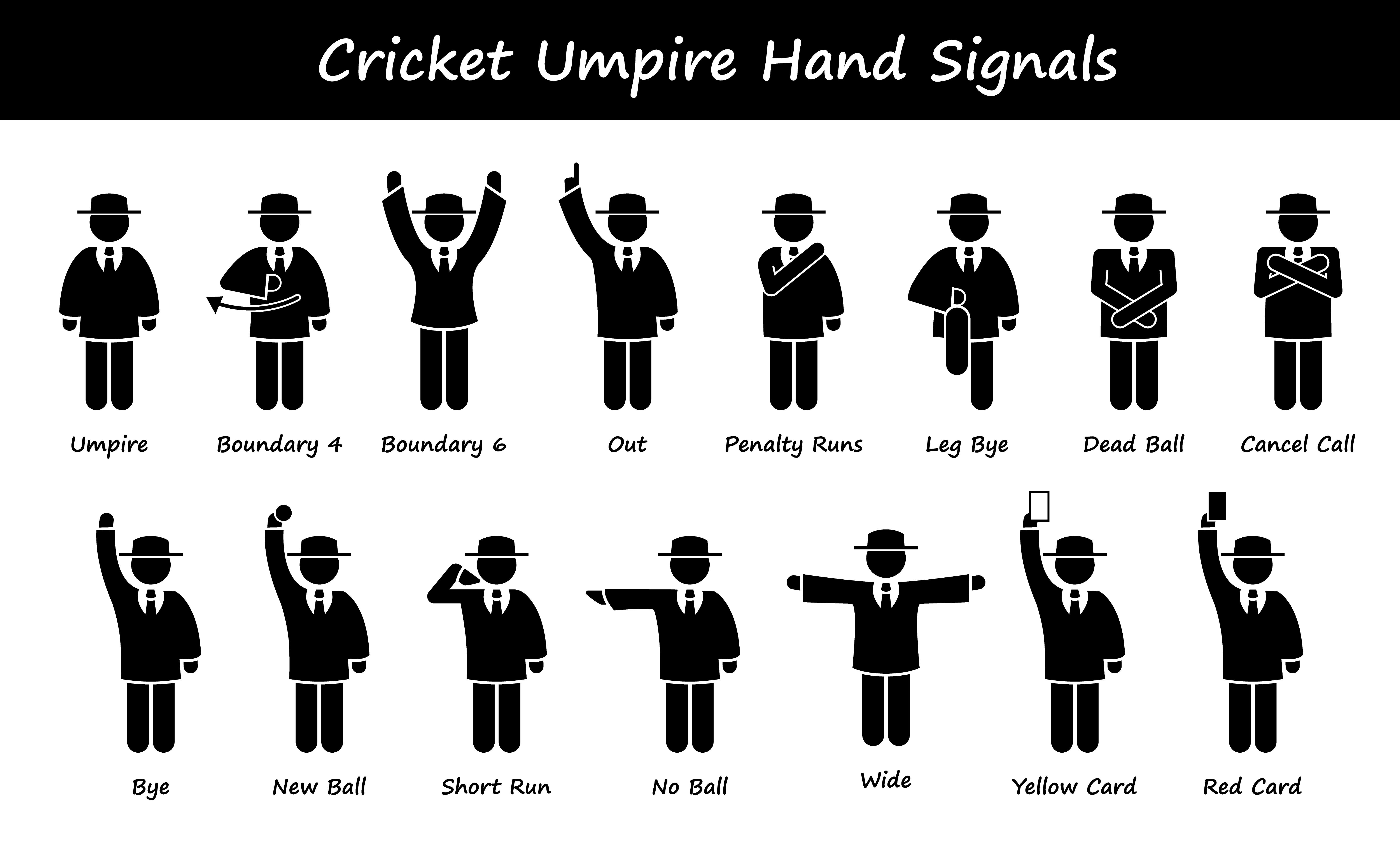 Cricket Umpire Referee Hand Signals Stick Figure Pictogram