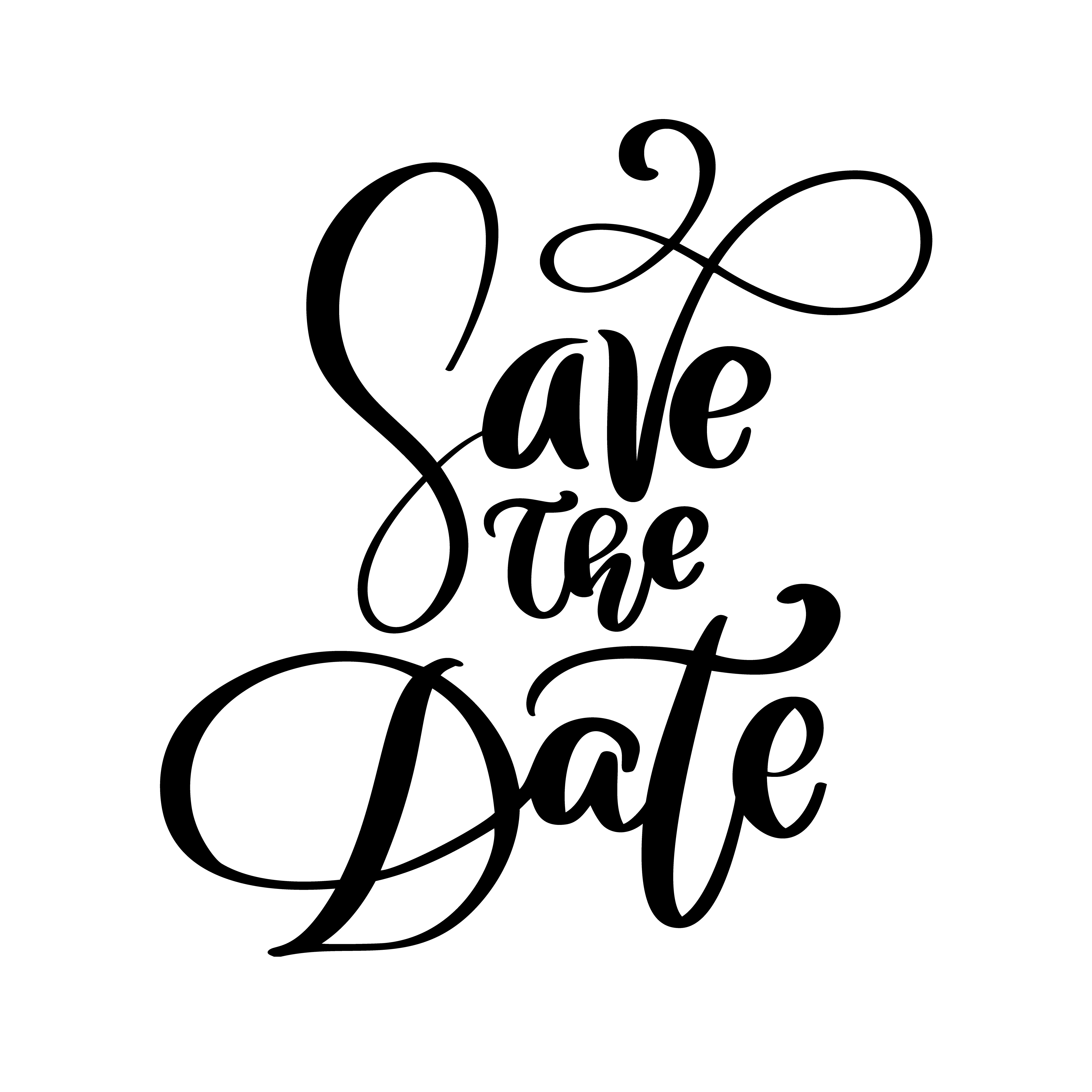 Save The Date Text Postcard Wedding Phrase Lettering