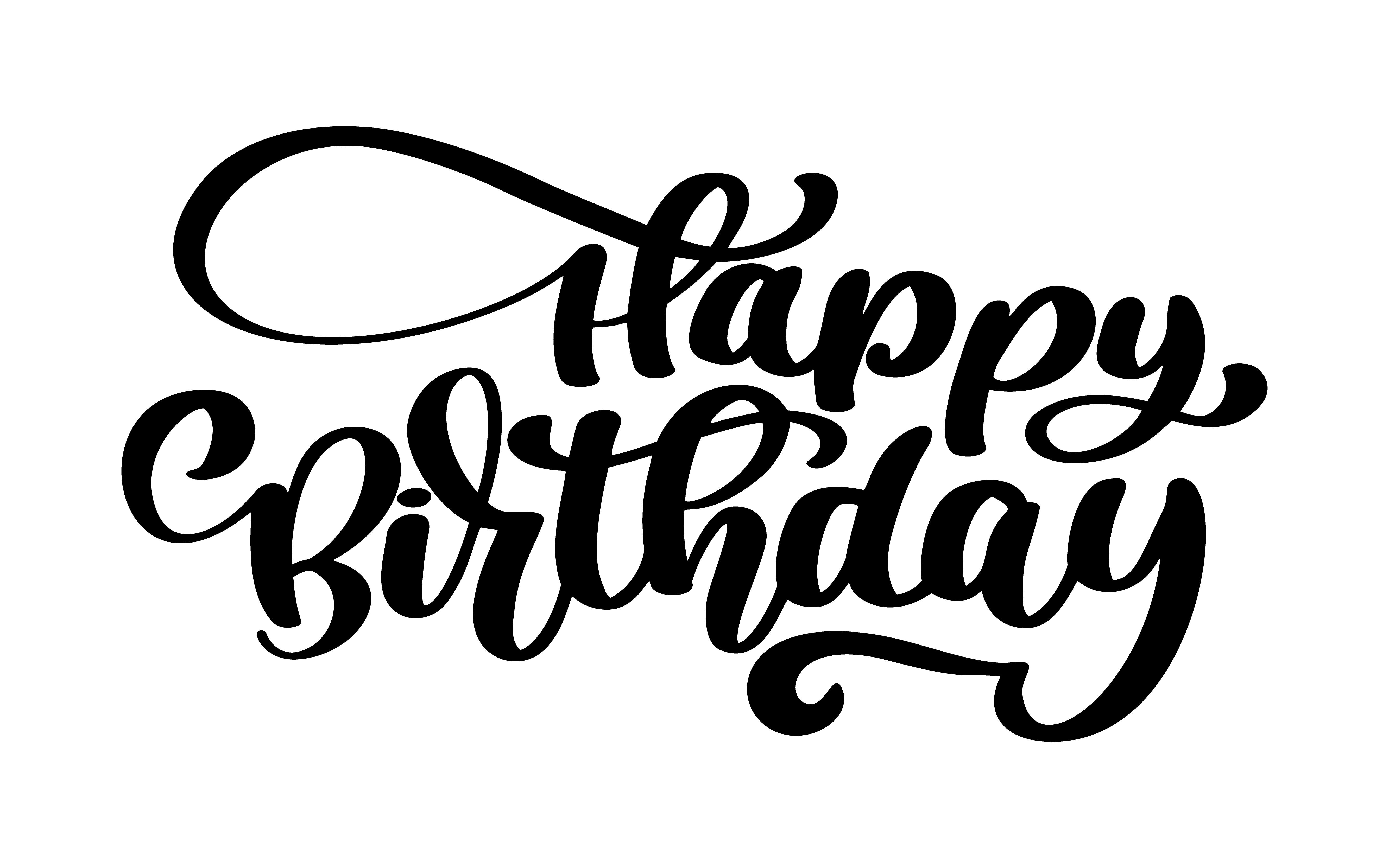 Happy Birthday Hand Drawn Text Phrase