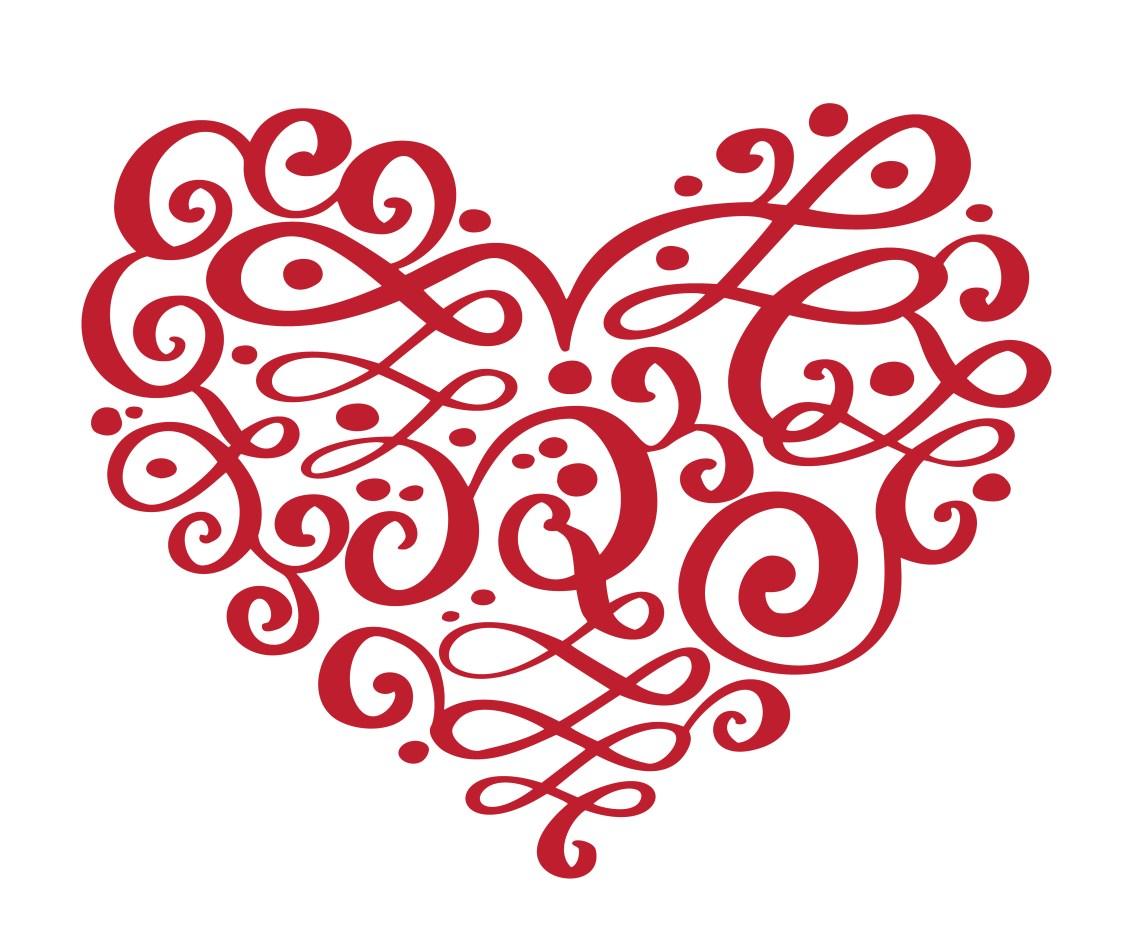 Download Hand drawn heart love valentine flourish separator ...
