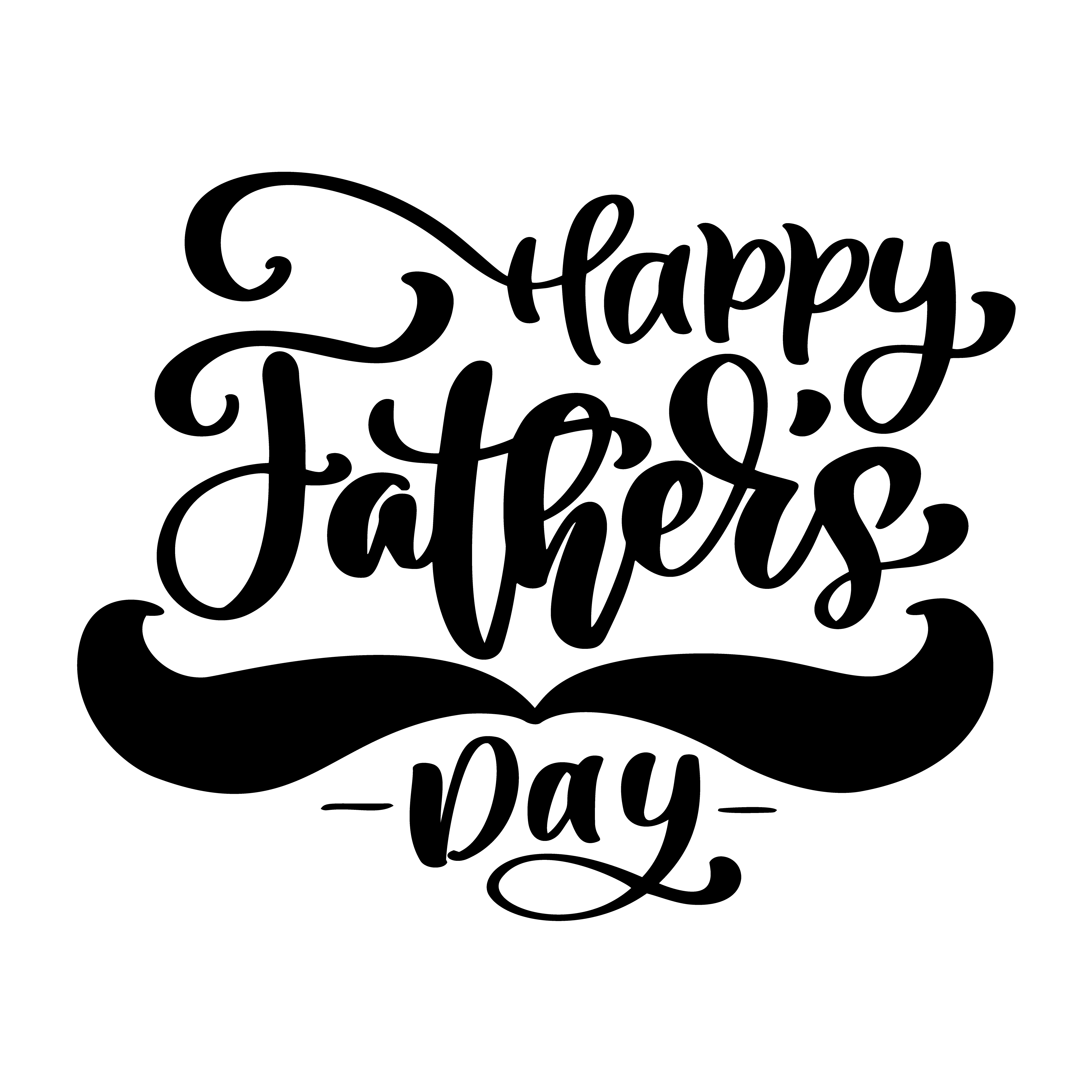Happy Fathers Day Phrase Hand Drawn Lettering Fathers
