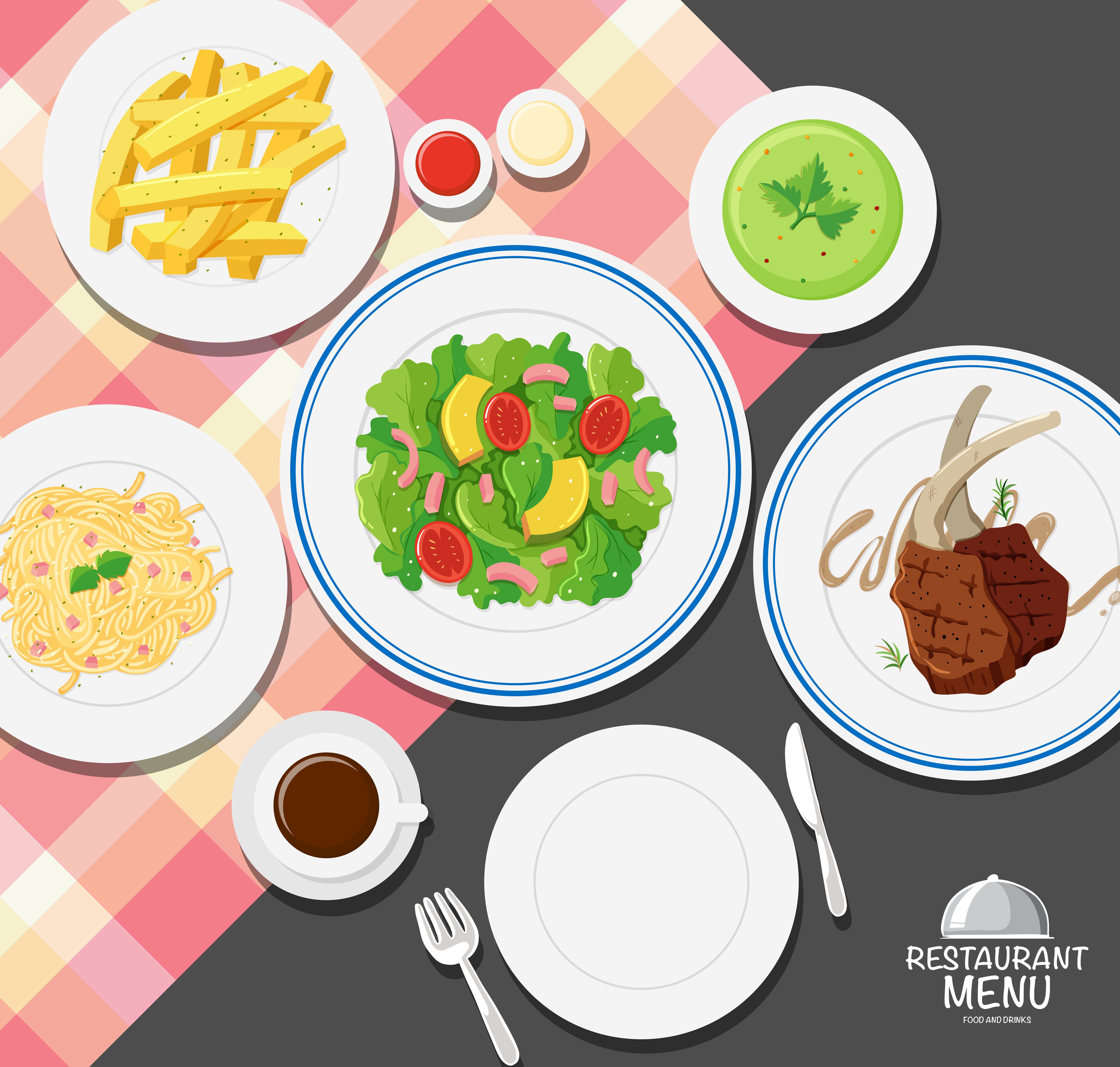 Different Types Of Food On Dining Table