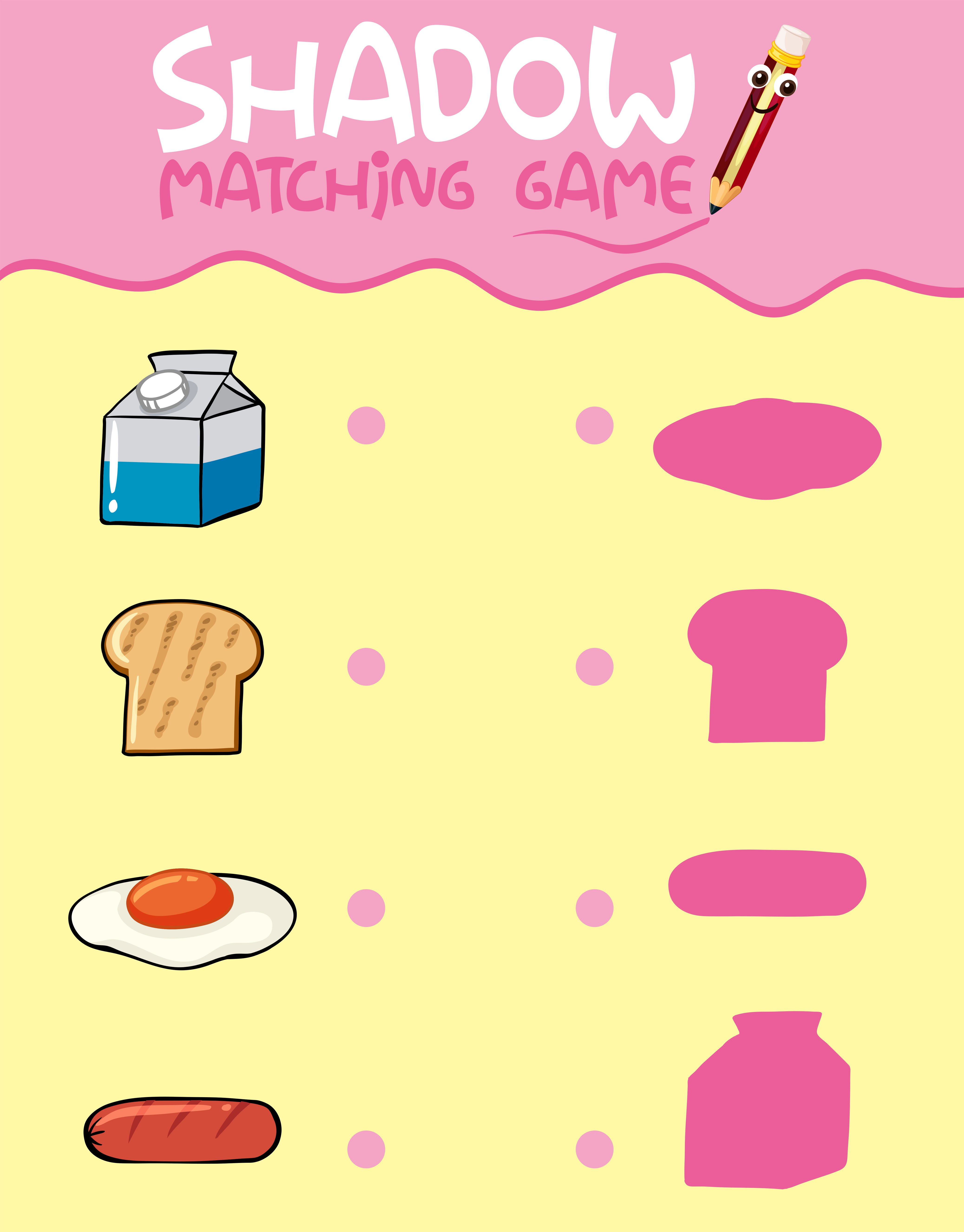 Food Shadow Matching Game Template