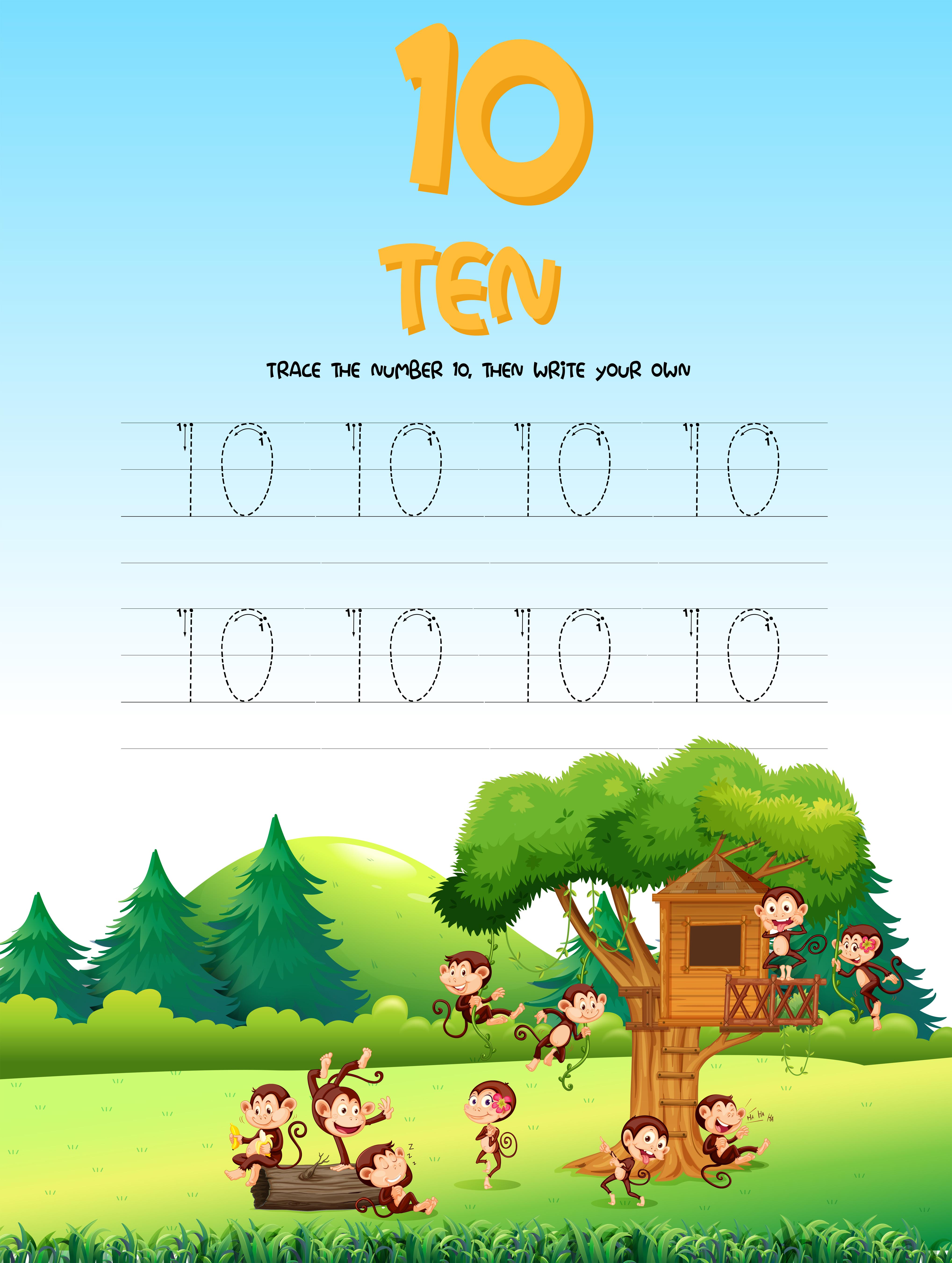 Number Five Tracing Worksheets