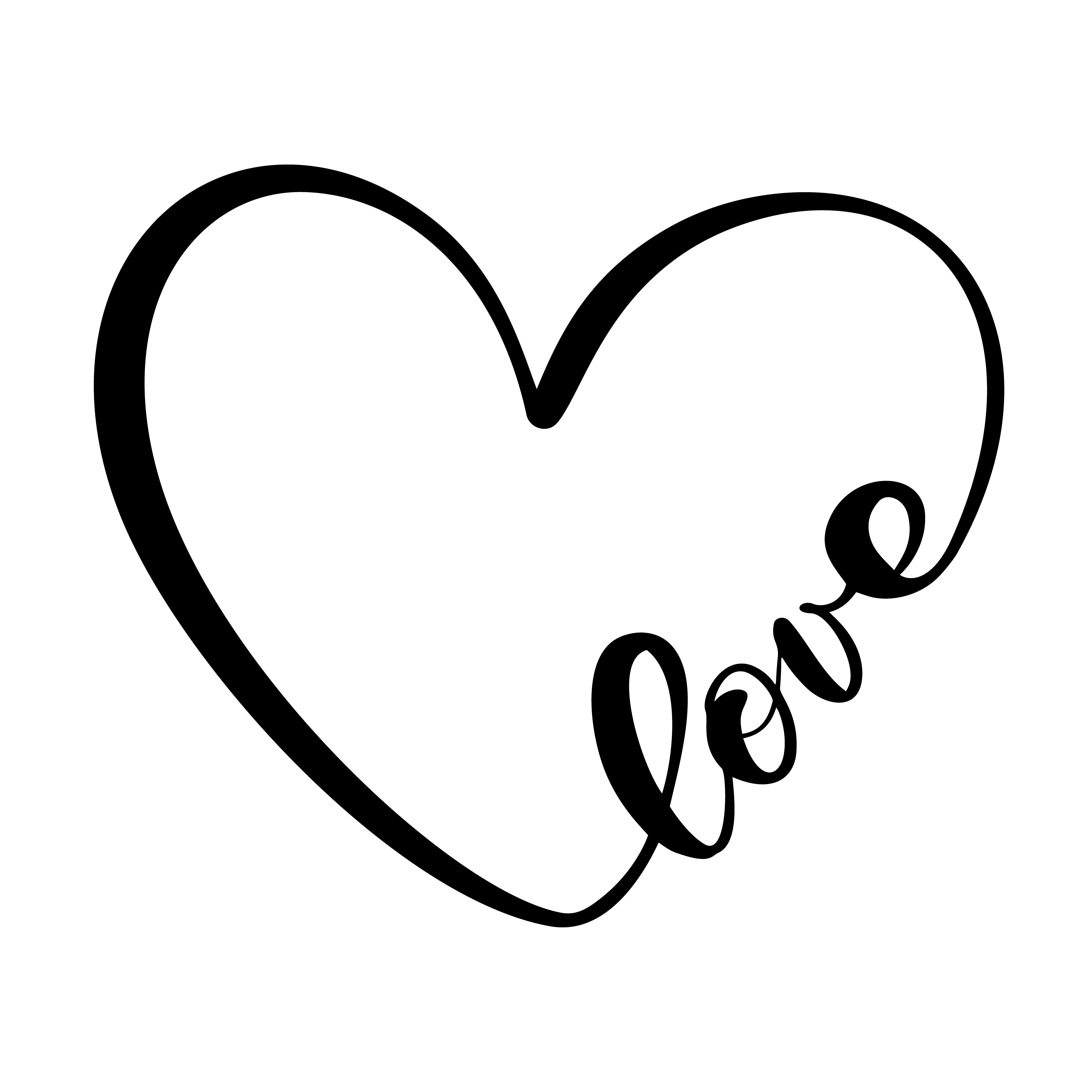 Calligraphy Word Love Vector Valentines Day Hand Drawn