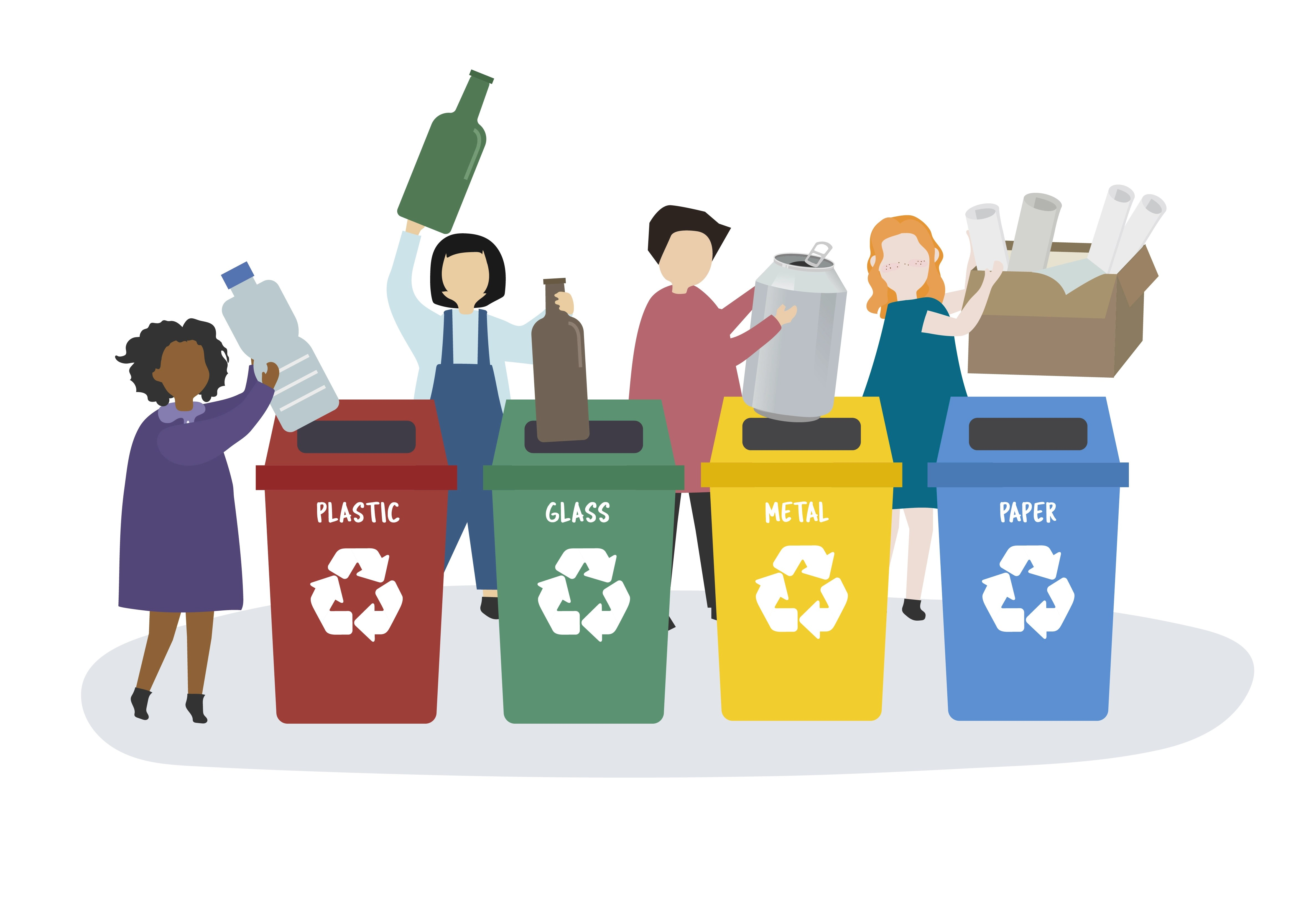 People Sorting Garbage Into Recycle Bins