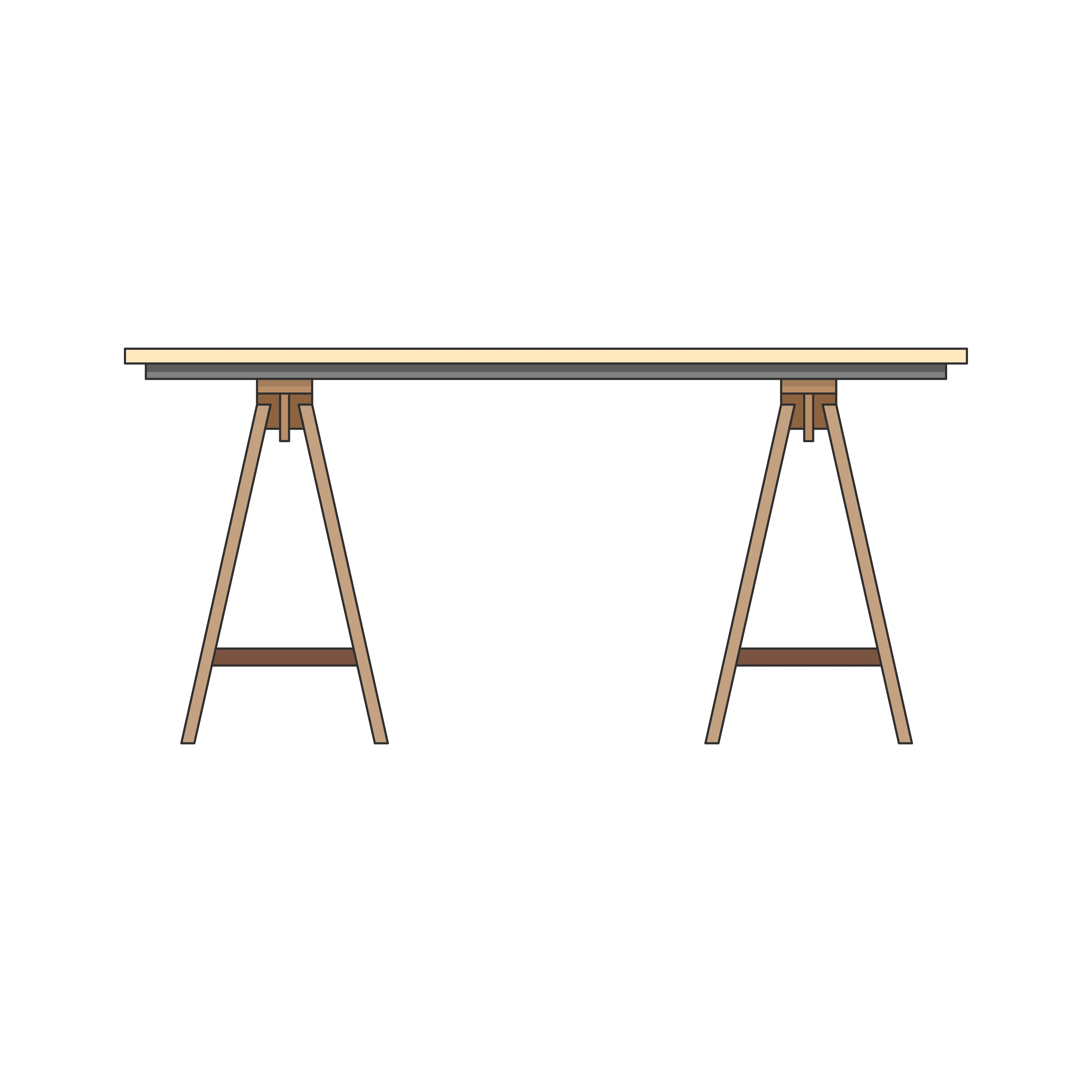 Illustration Of A Modern Wooden Office Table