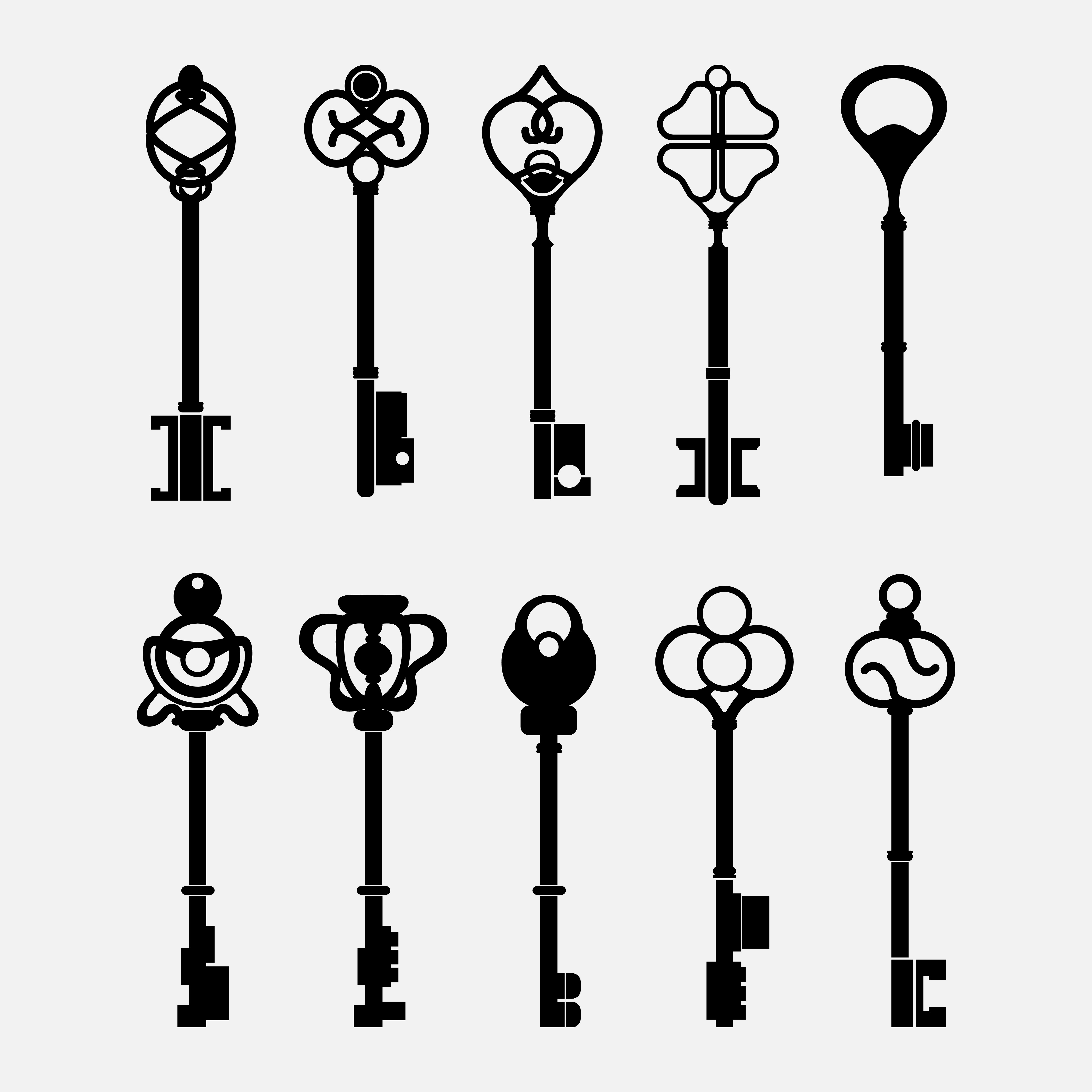 Set Of Vintage Design Key Vectors
