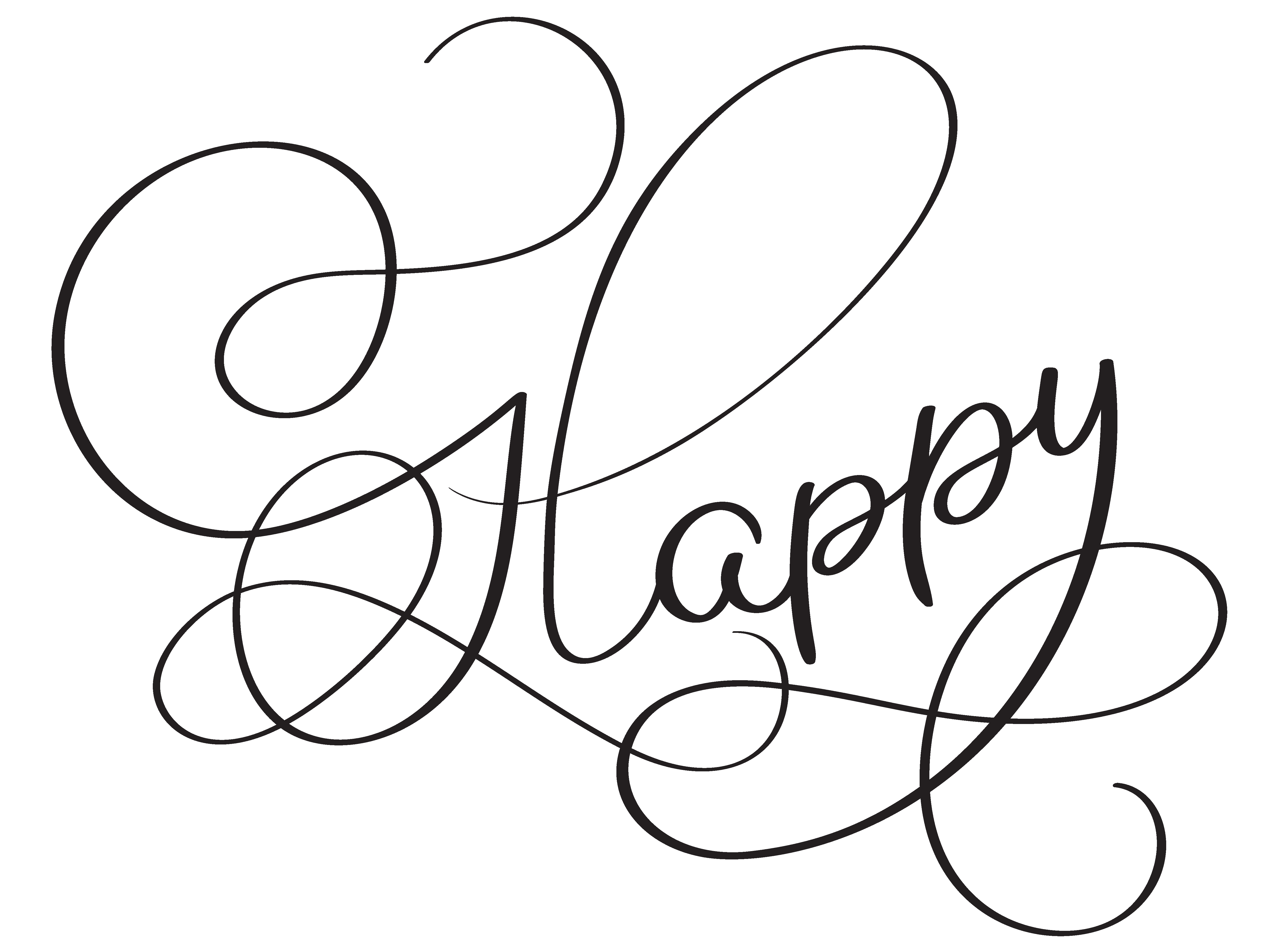 Happy Word On White Background Hand Drawn Calligraphy