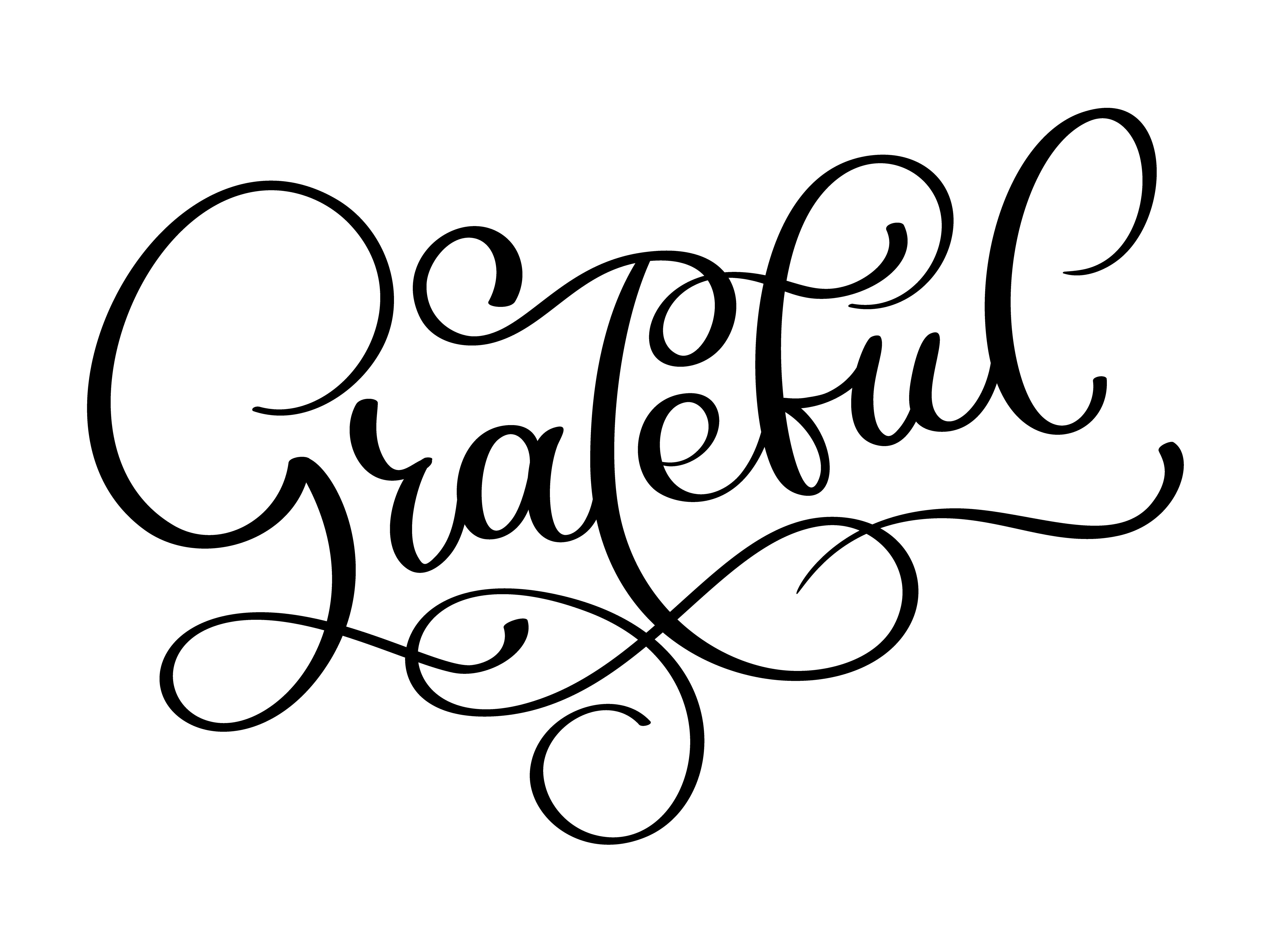 Grateful Hand Drawn Postcard Vector Lettering For