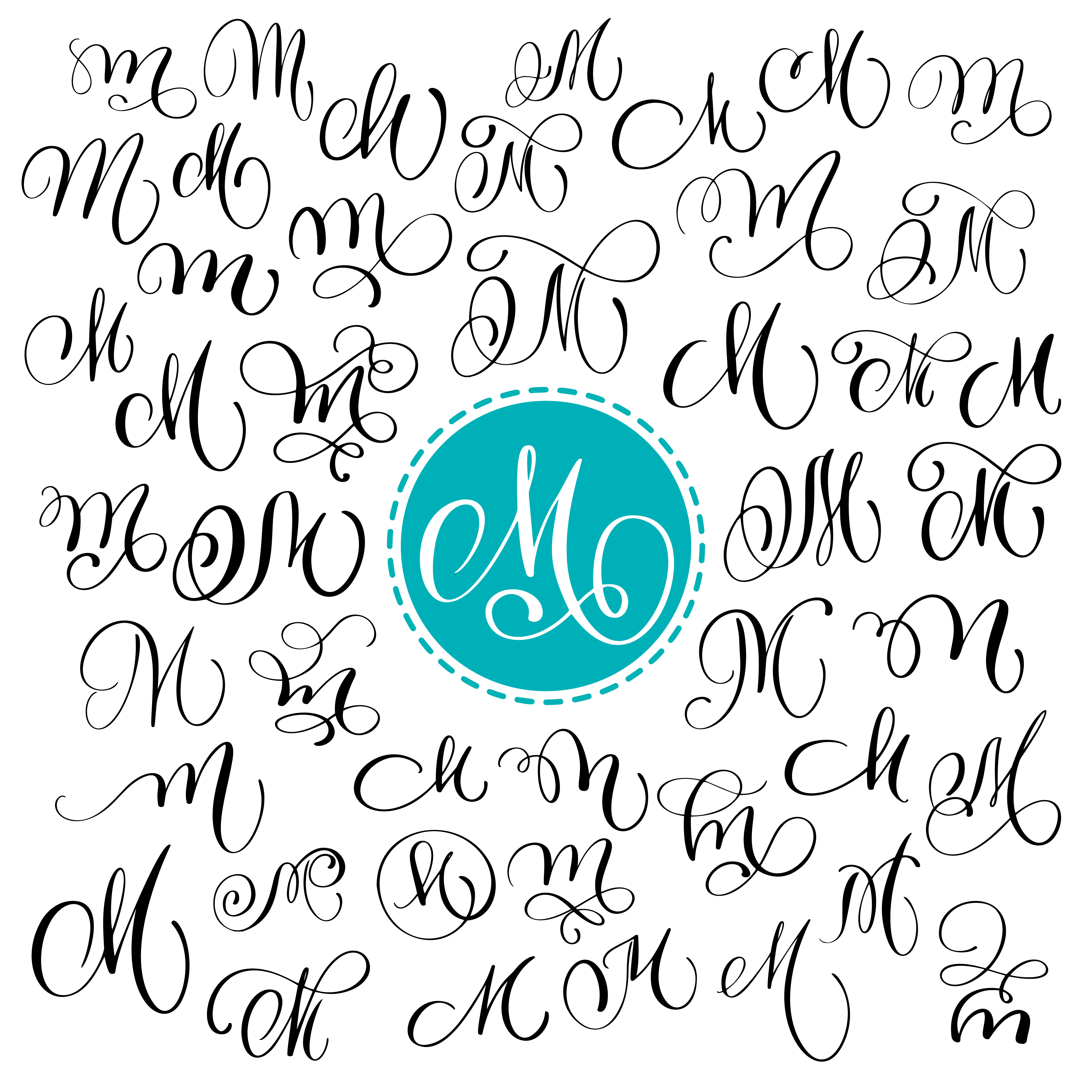 Set Of Hand Drawn Vector Calligraphy Letter M Script Font