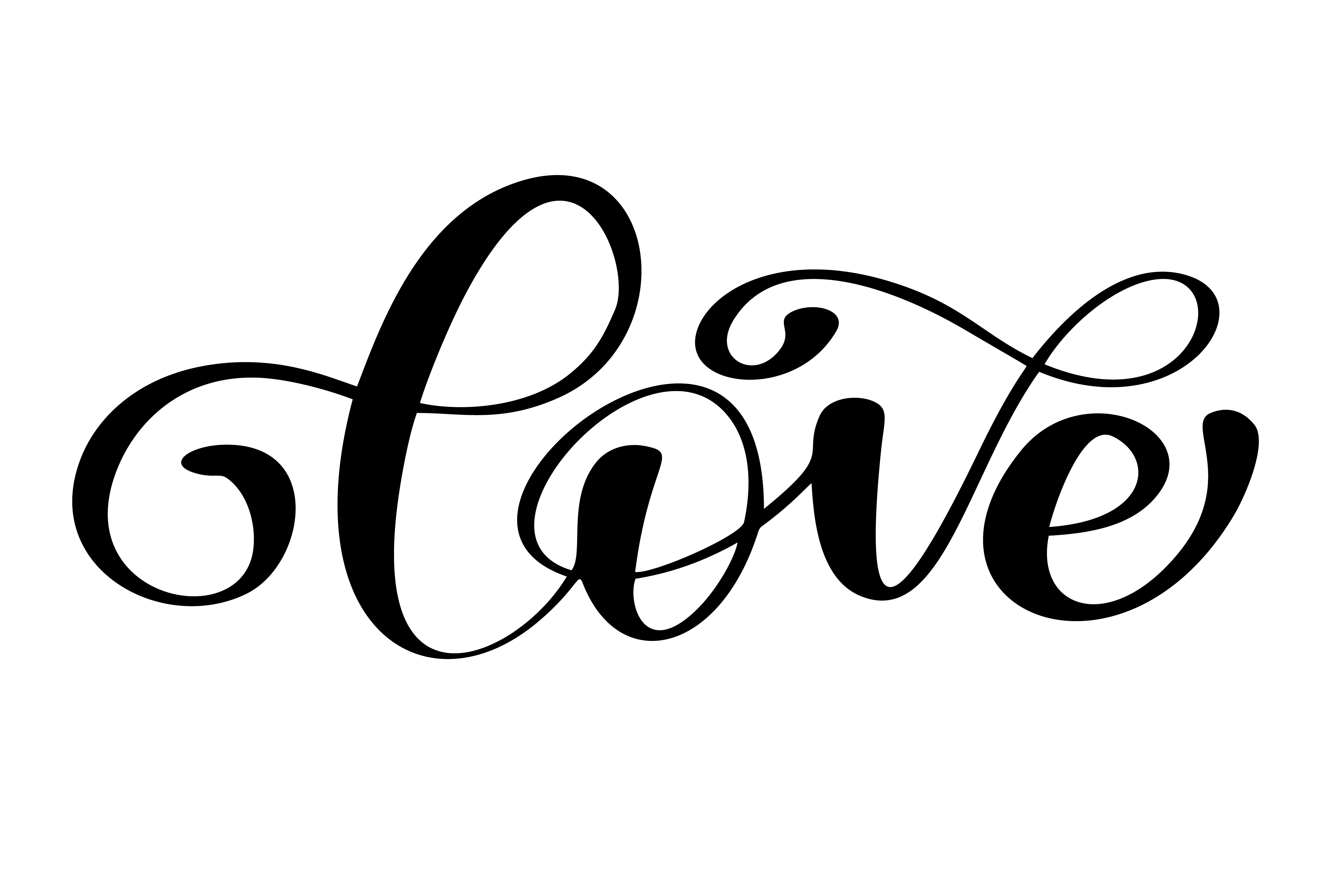 Lettering Word Love On Valentines Day Hand Drawn