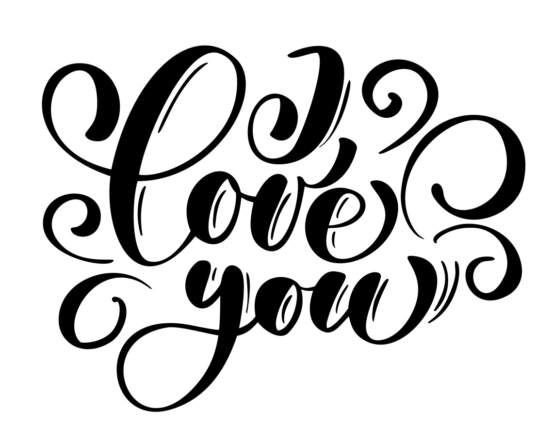 Download I Love you text postcard. Phrase for Valentines day. Ink ...