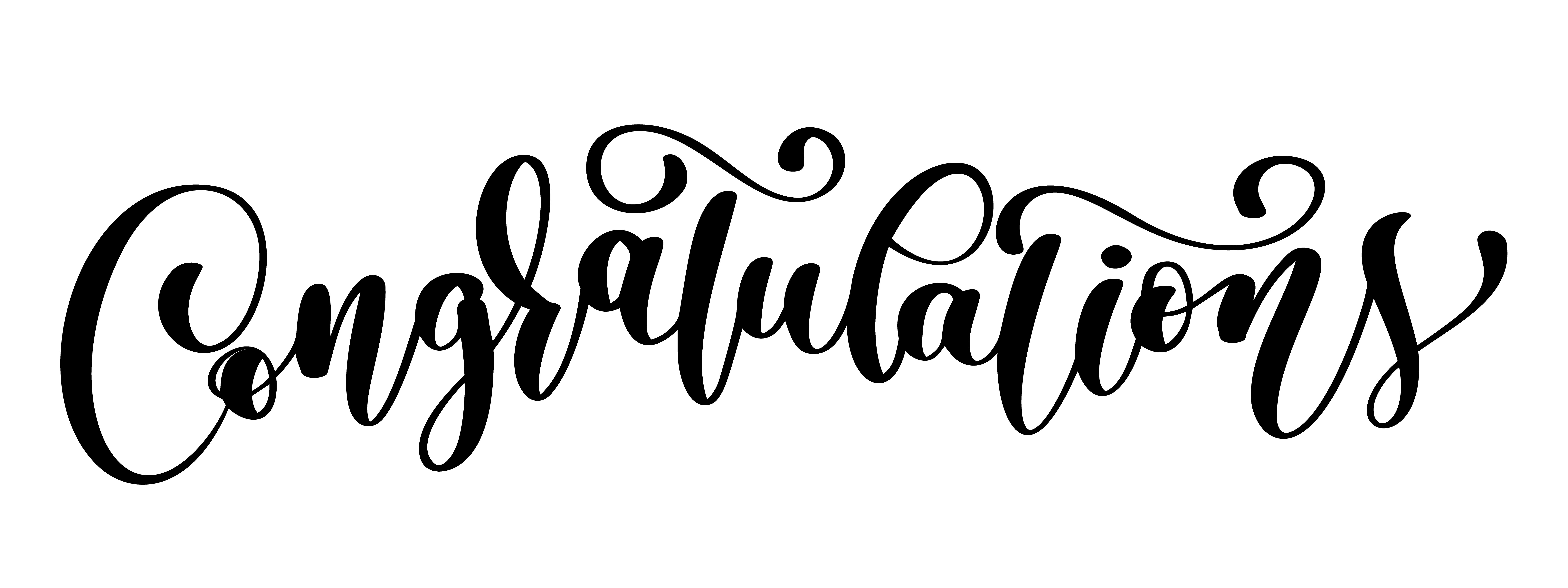 Congratulations Calligraphy Lettering Text Card With