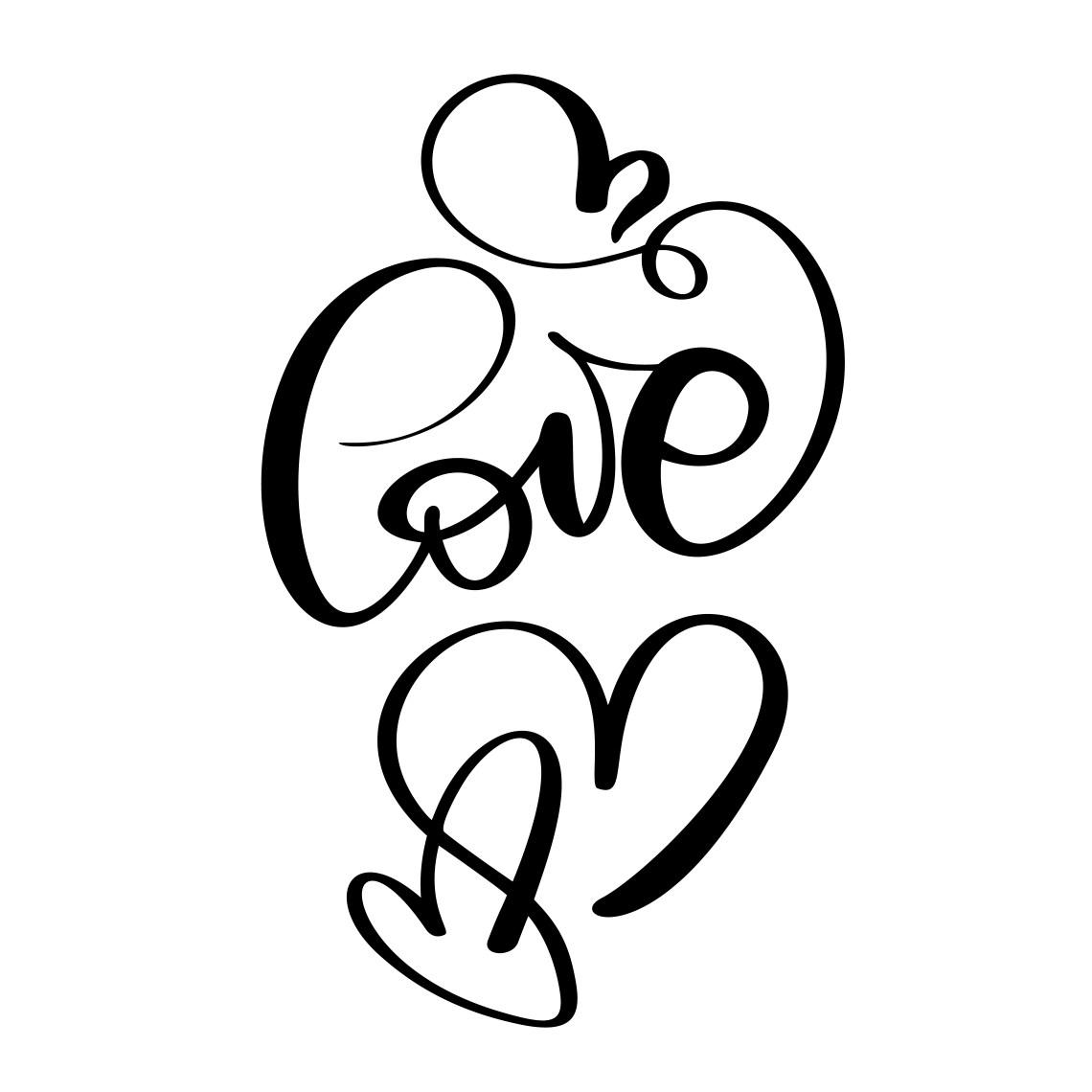 Download handwritten inscription LOVE and heart Happy Valentines ...