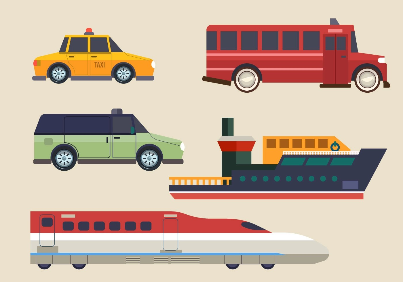 Modern Transportation Clipart Set Vector Illustration