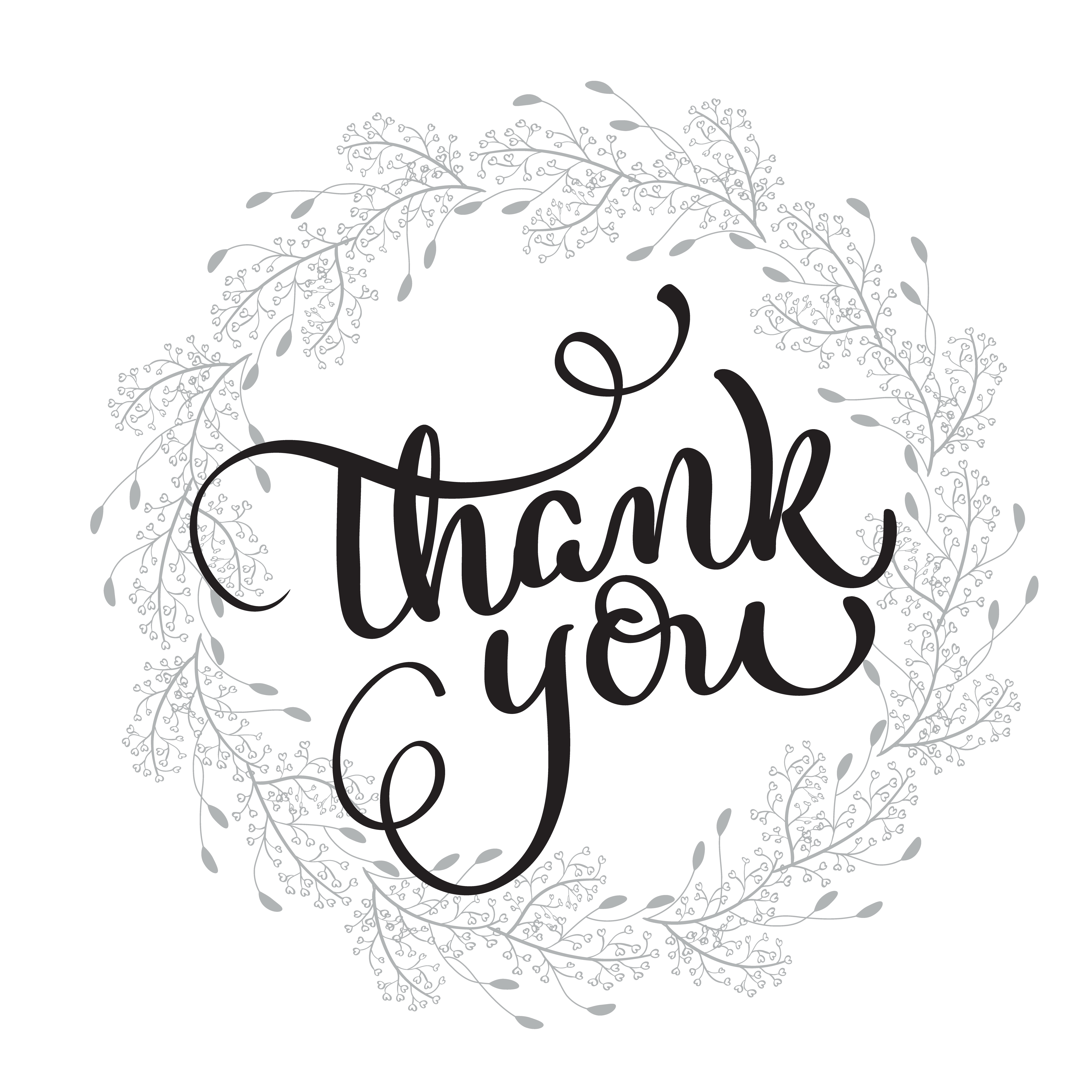 Thank You Text With Round Frame On Background Calligraphy