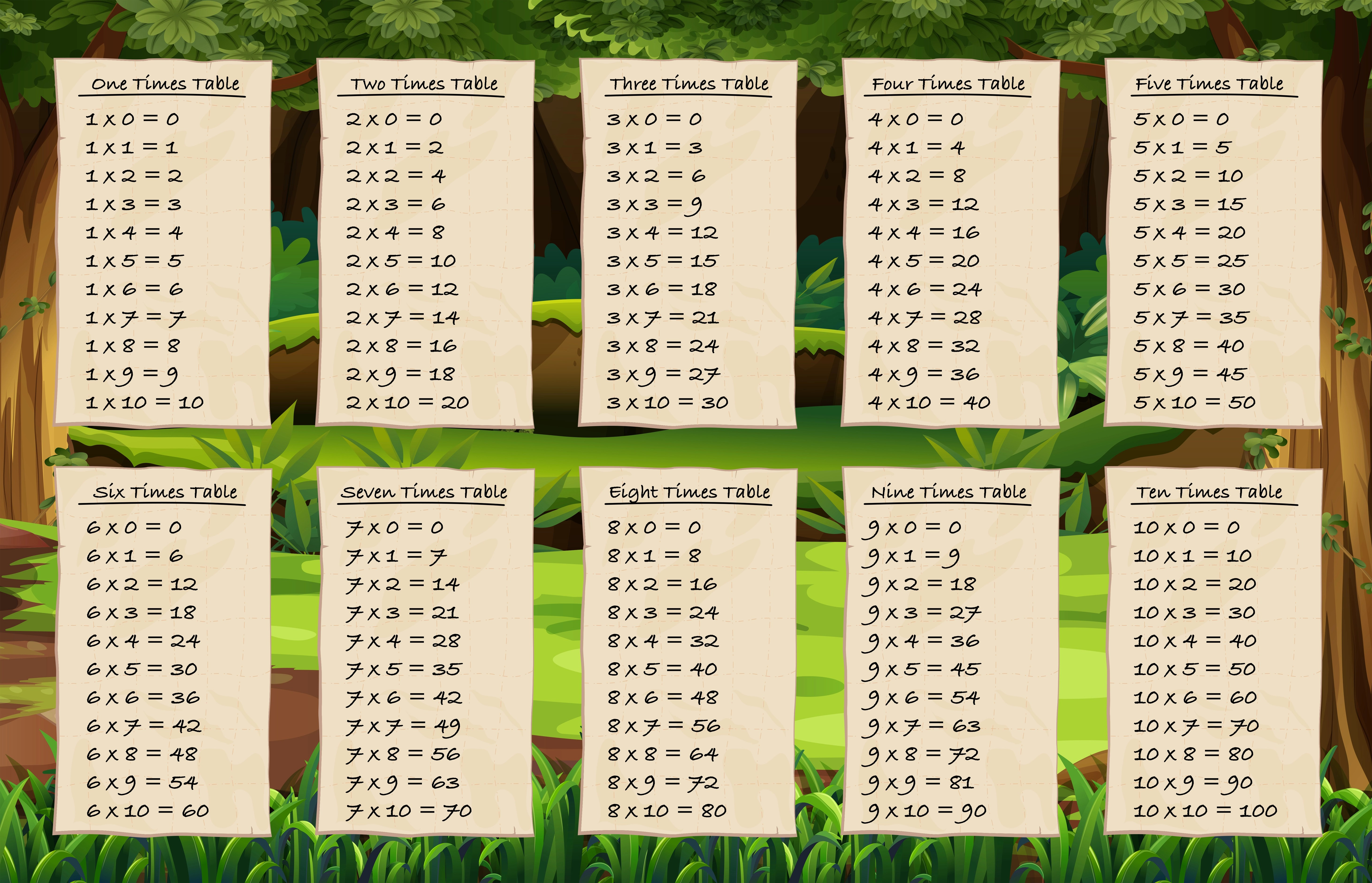 Times Tables On Forest Background