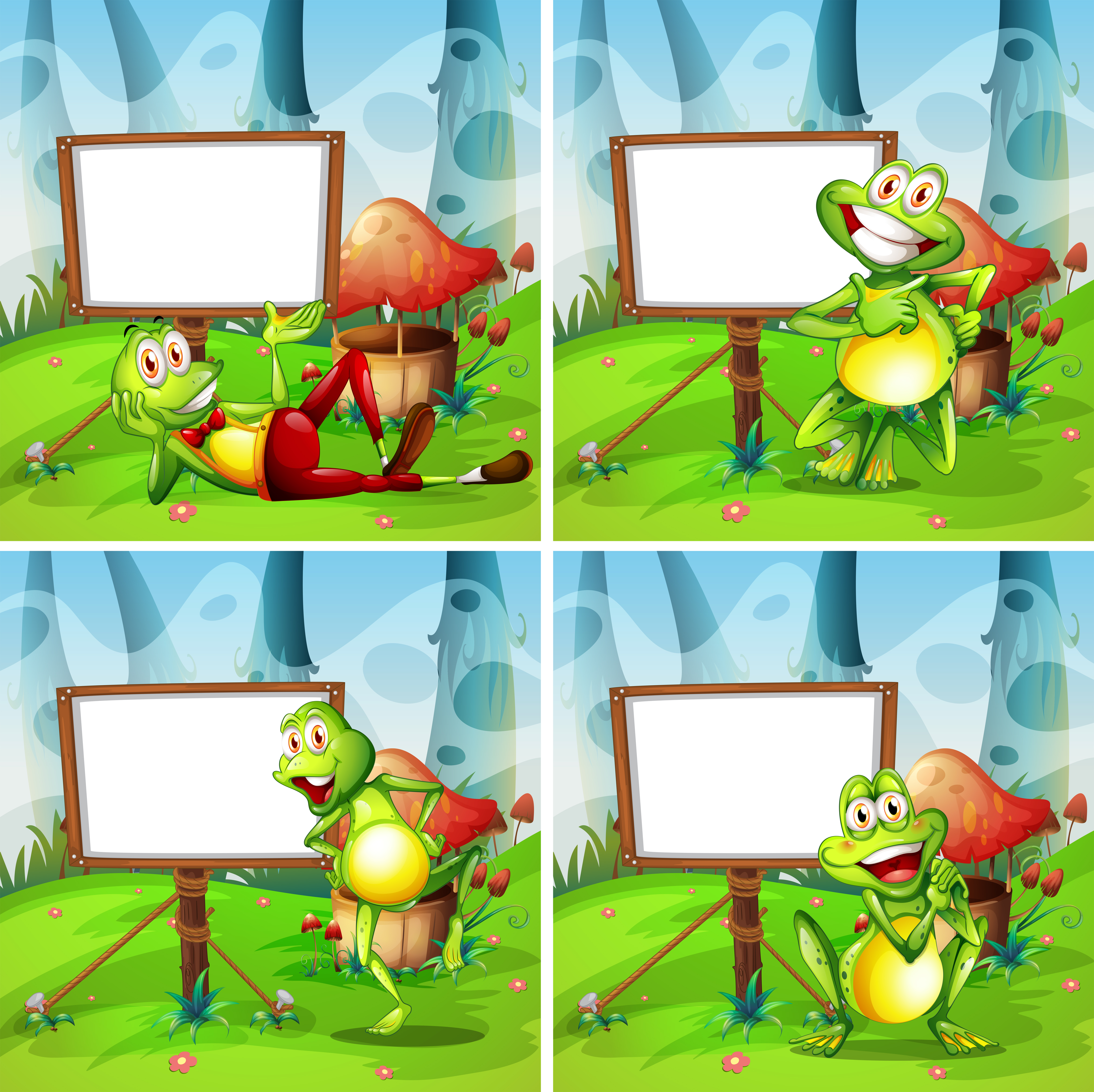 Four Frames Of Frog In The Park