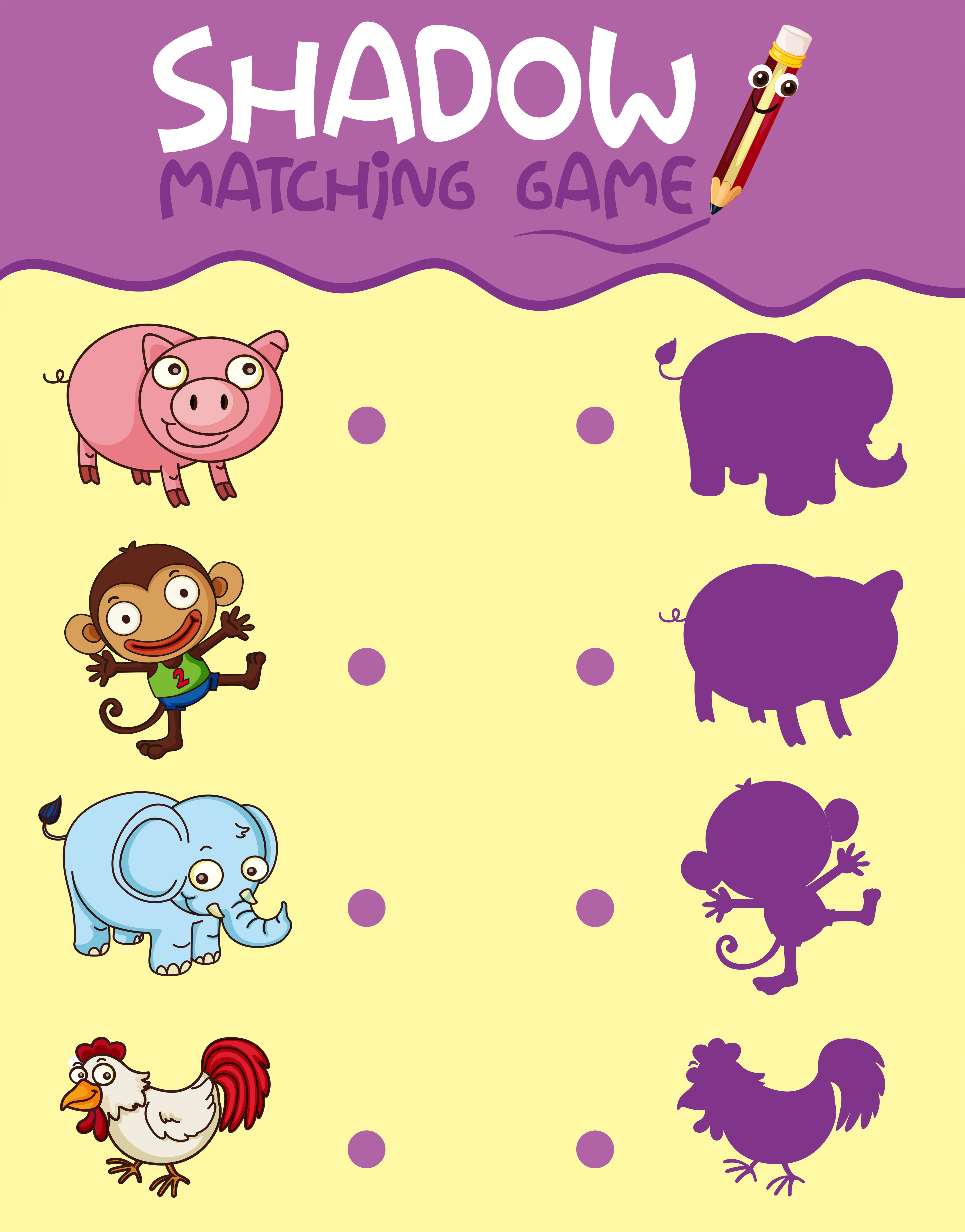 Animal Shadow Matching Game Template