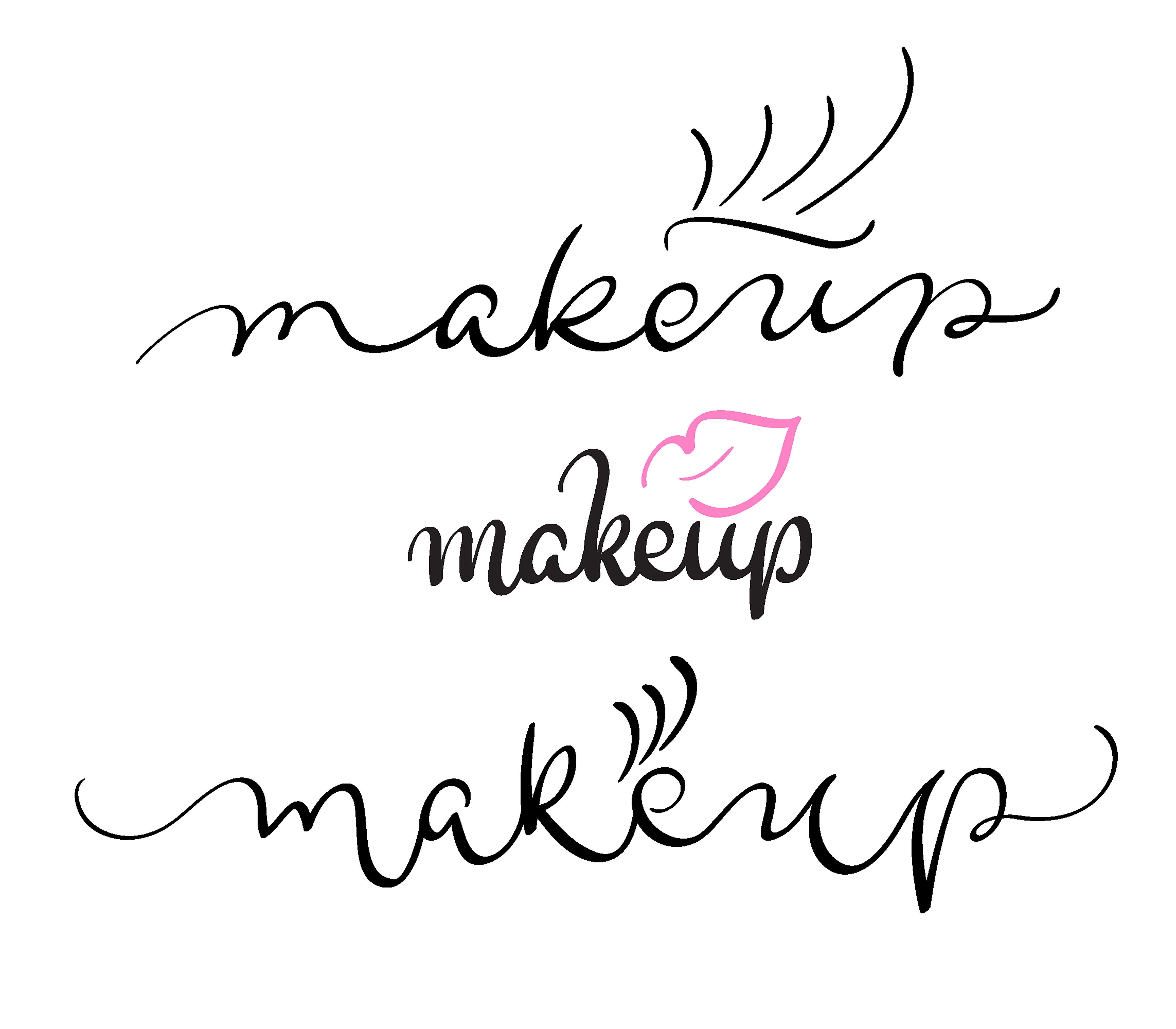 Makeup Vector Text On White Background Calligraphy