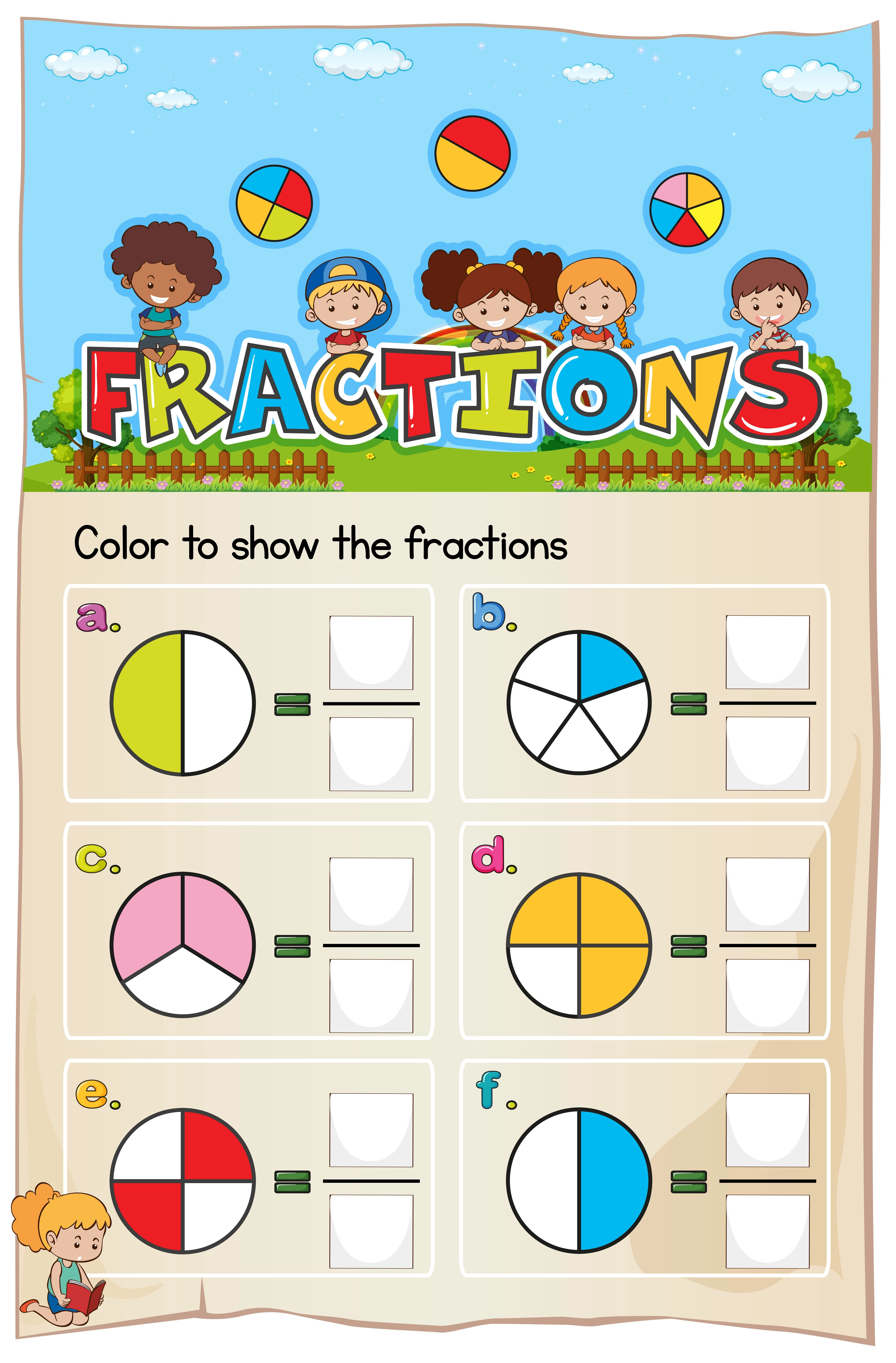 Mathematics Worksheet Fractions Chapter With Picture