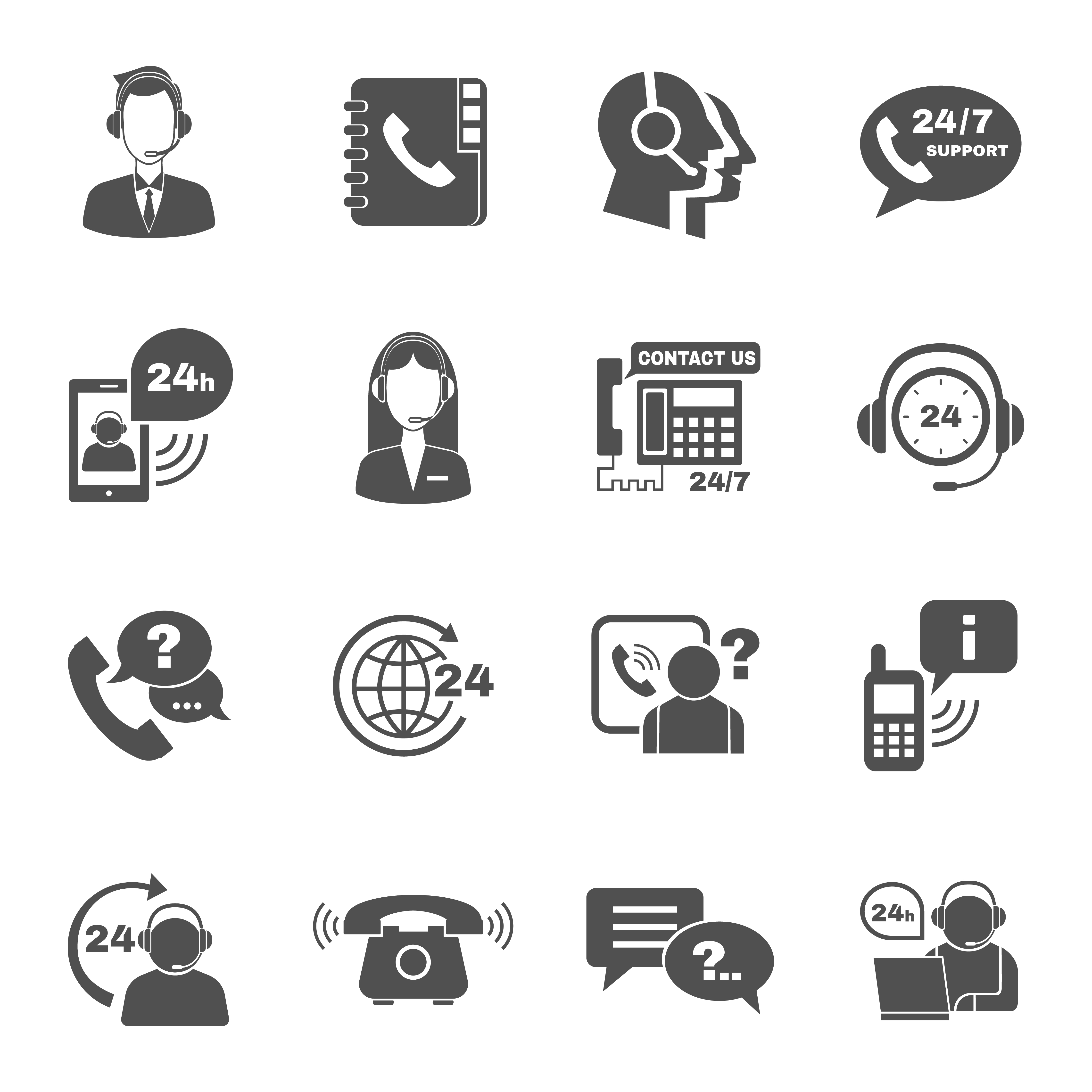 Support Contact Call Center Icons Set