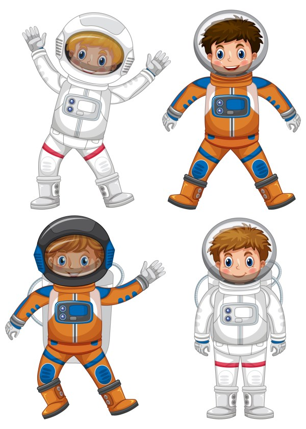 Four astronauts on white background - Download Free ...