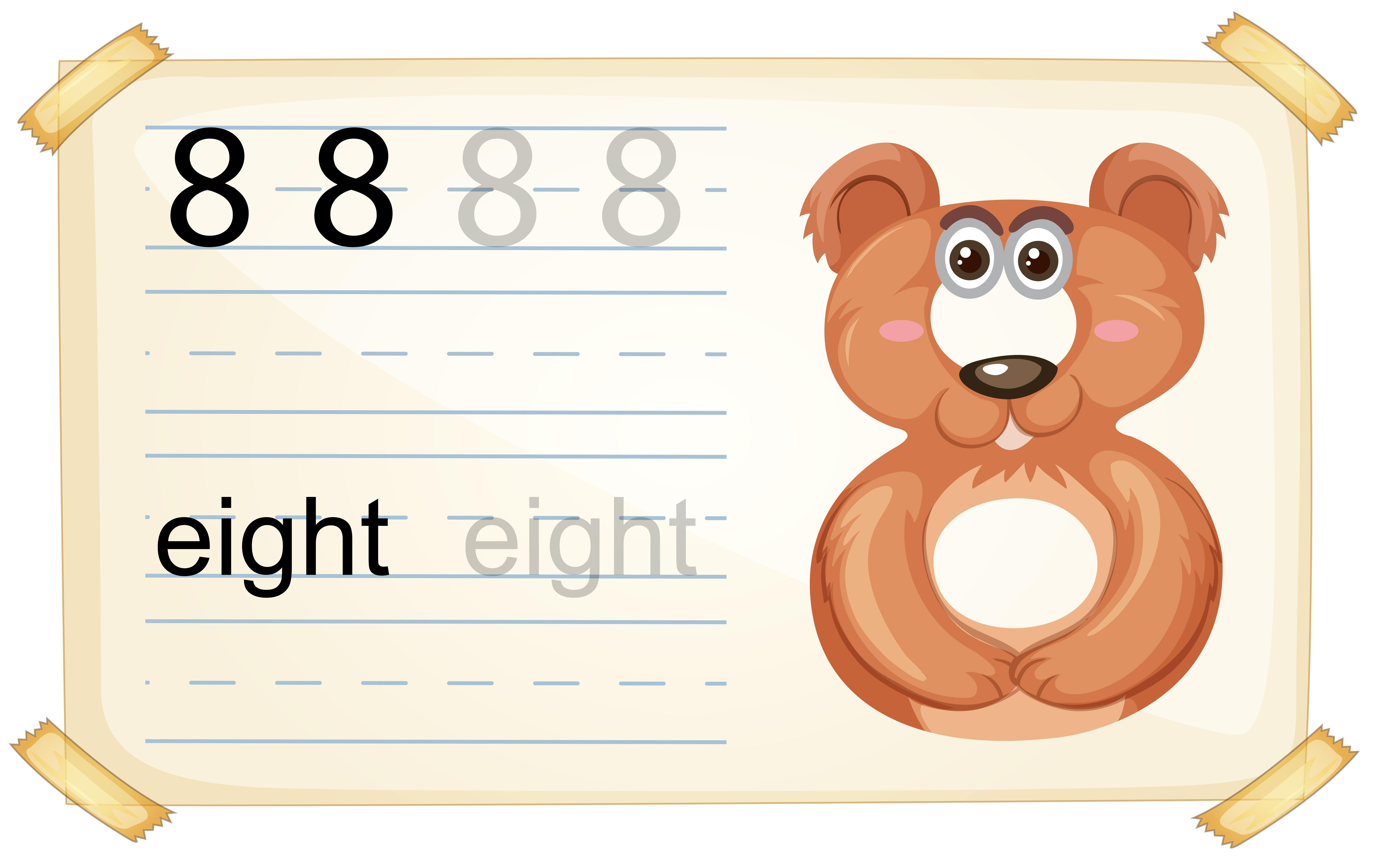 Animal Cartoon Number Eight Worksheet