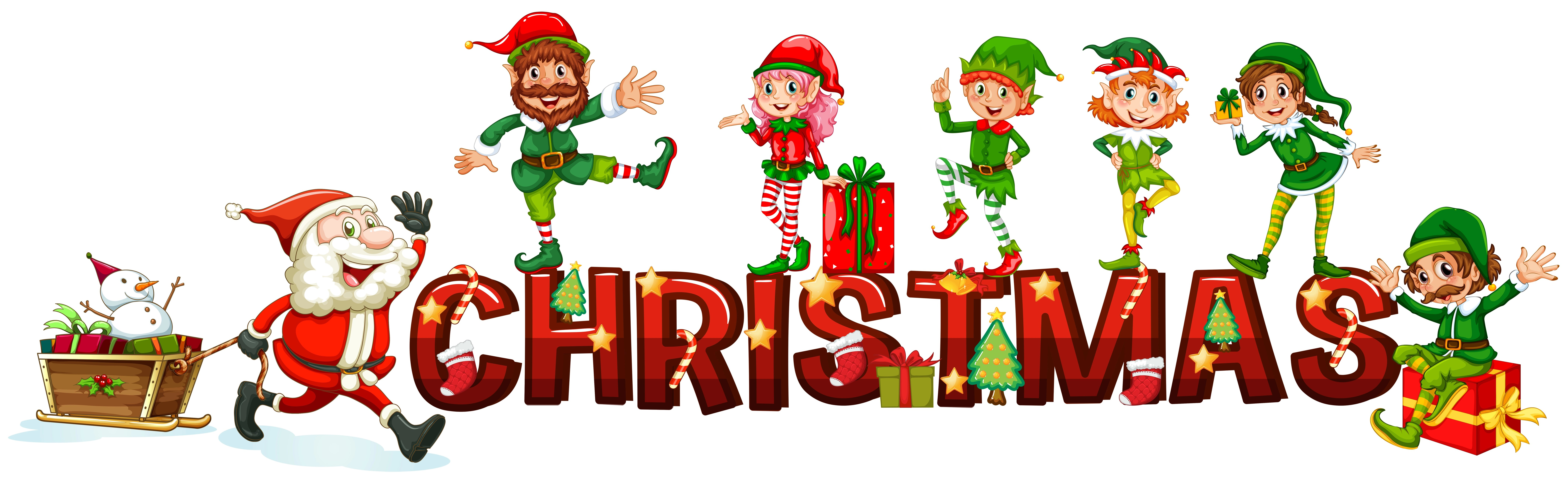 Christmas Poster With Santa And Elves