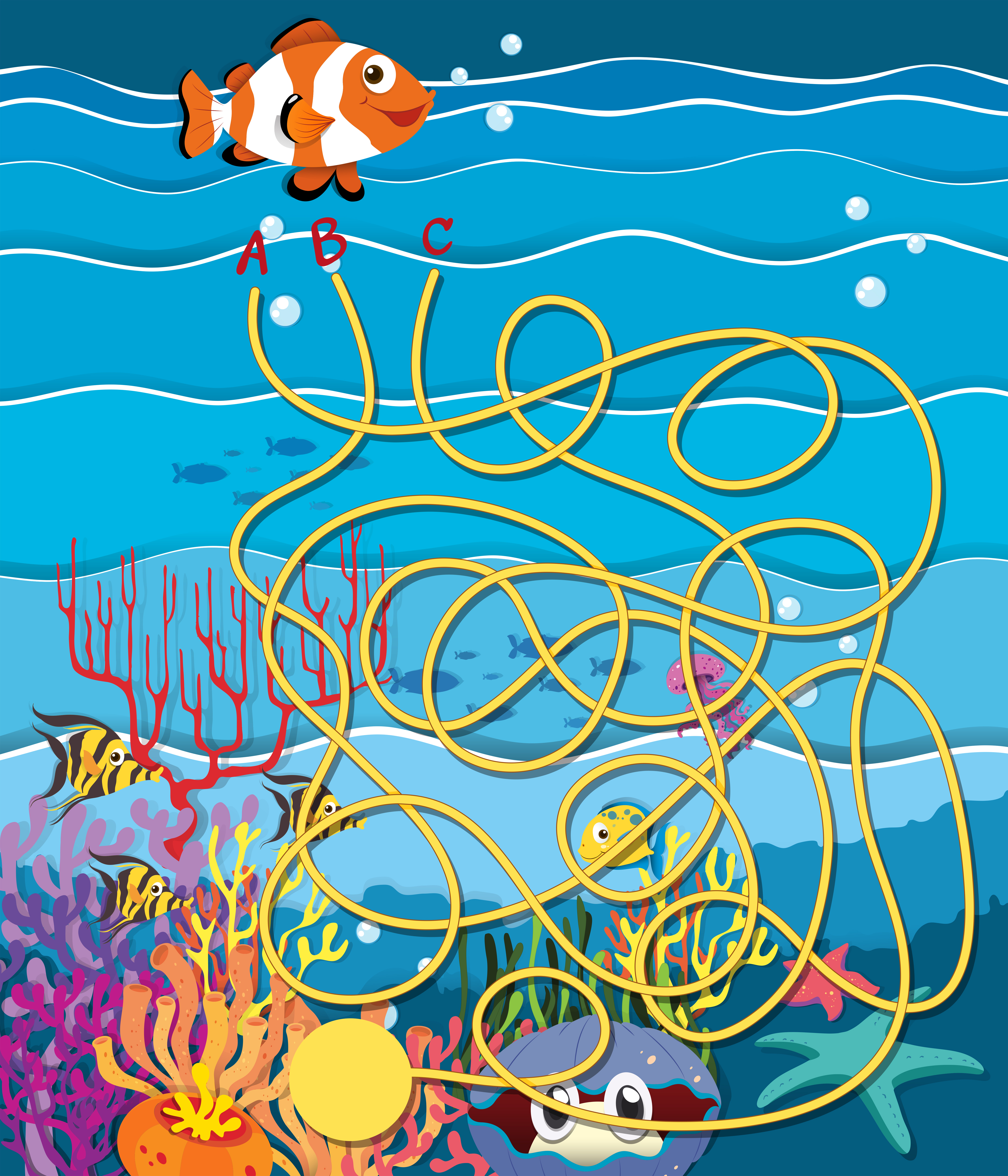 Maze Game With Fish And Coral Reef