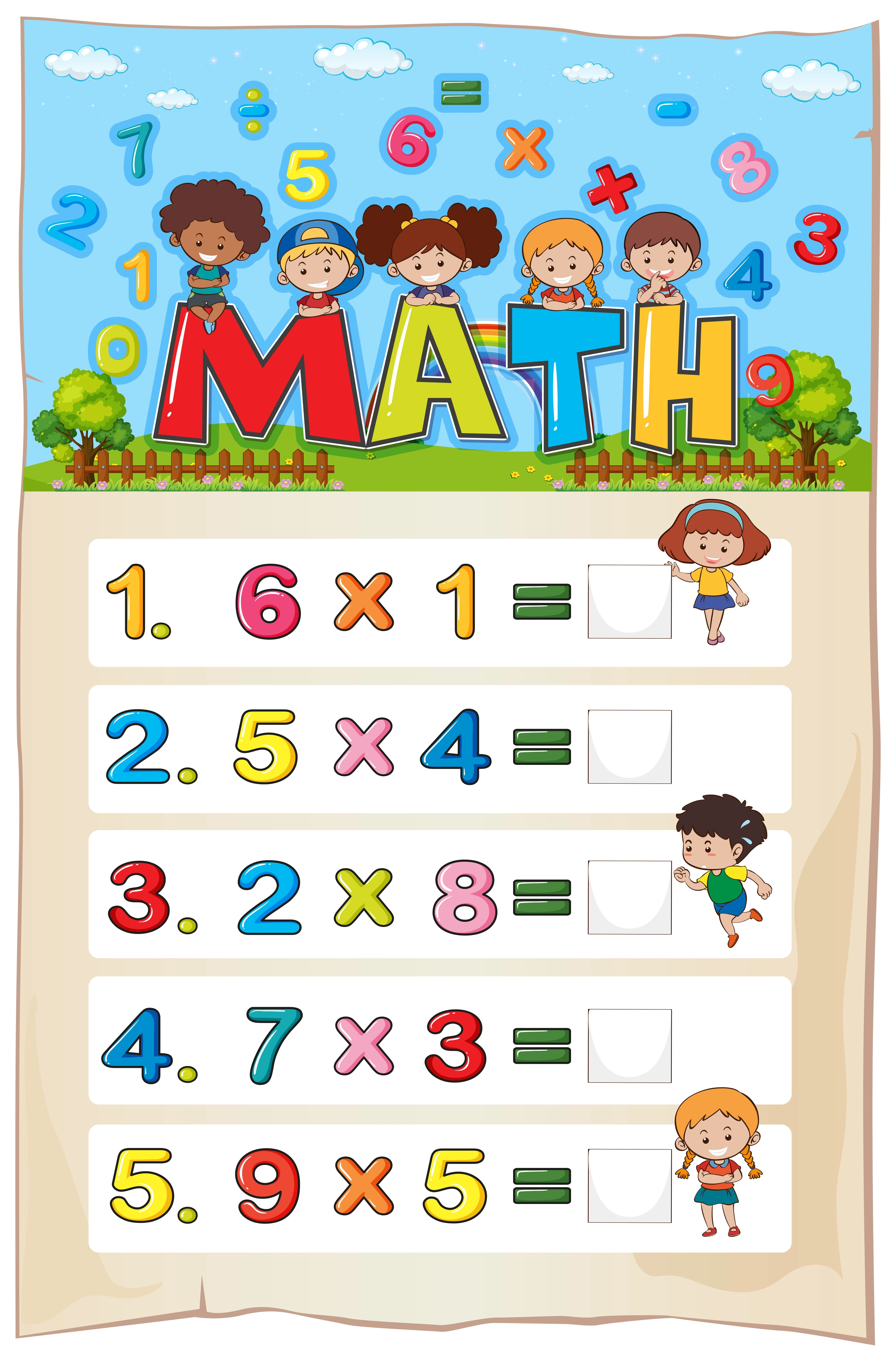 Math Worksheet Template With Kids And Multiplication