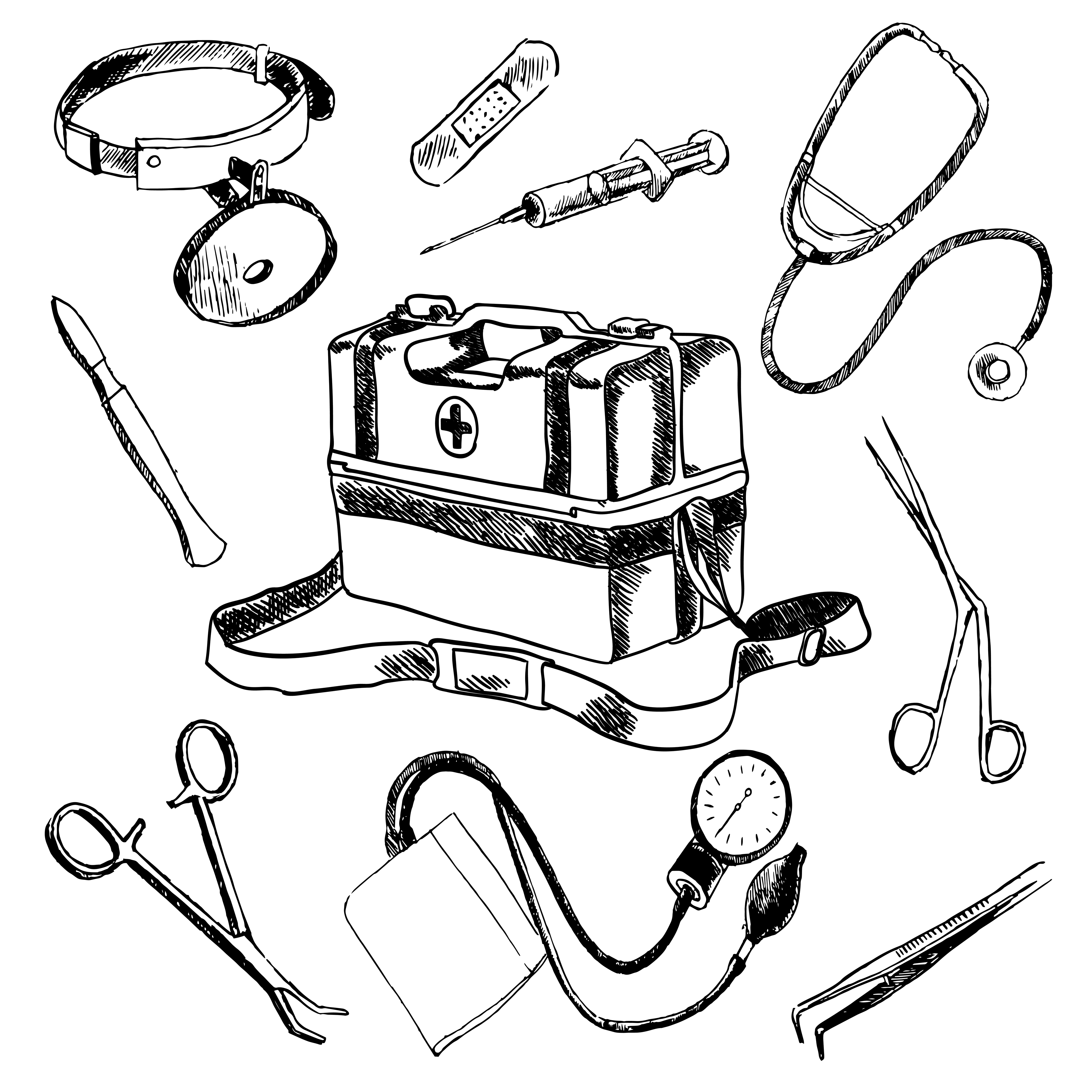 Doctor Medical Accessories Sketch Icons Set