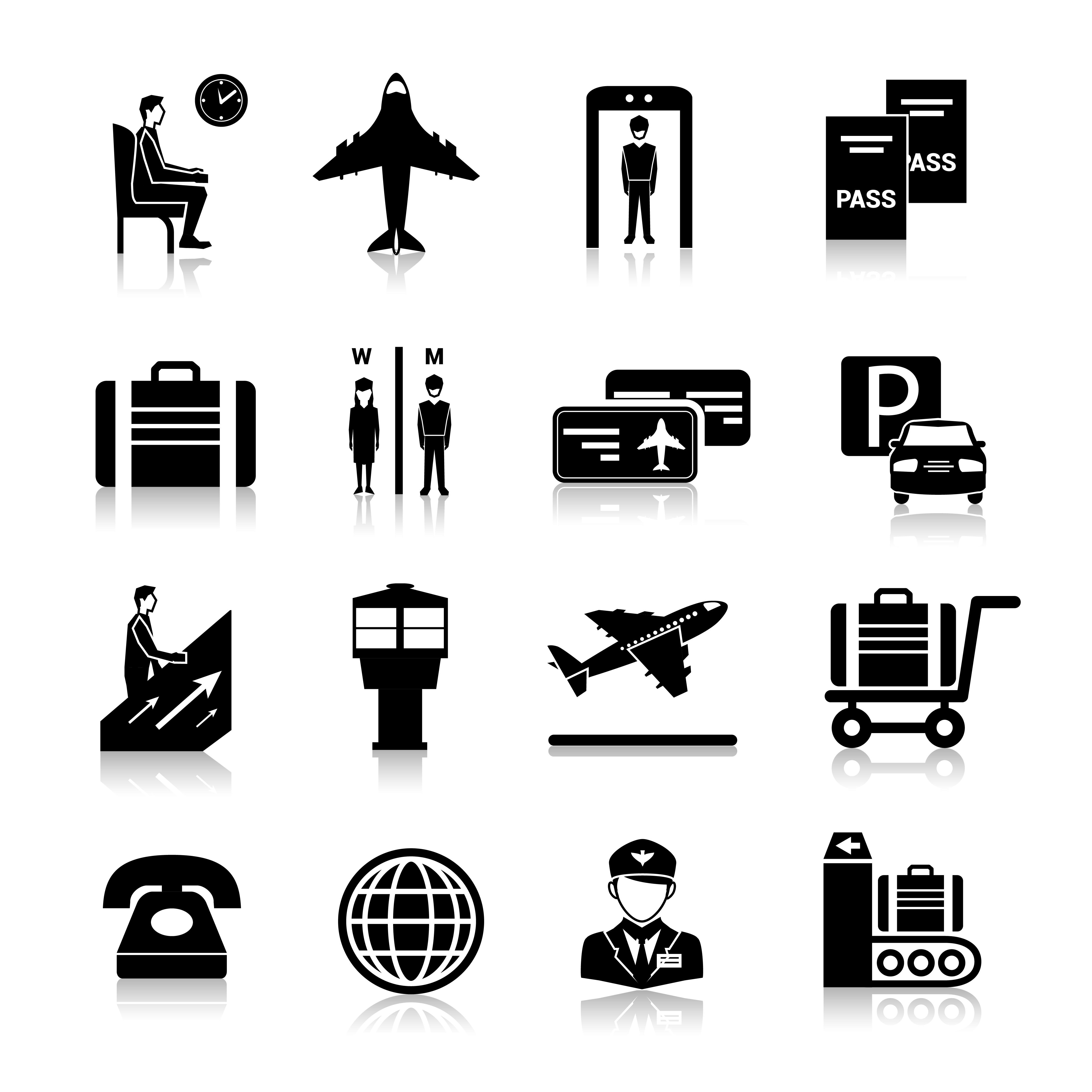 Airport Icons Black