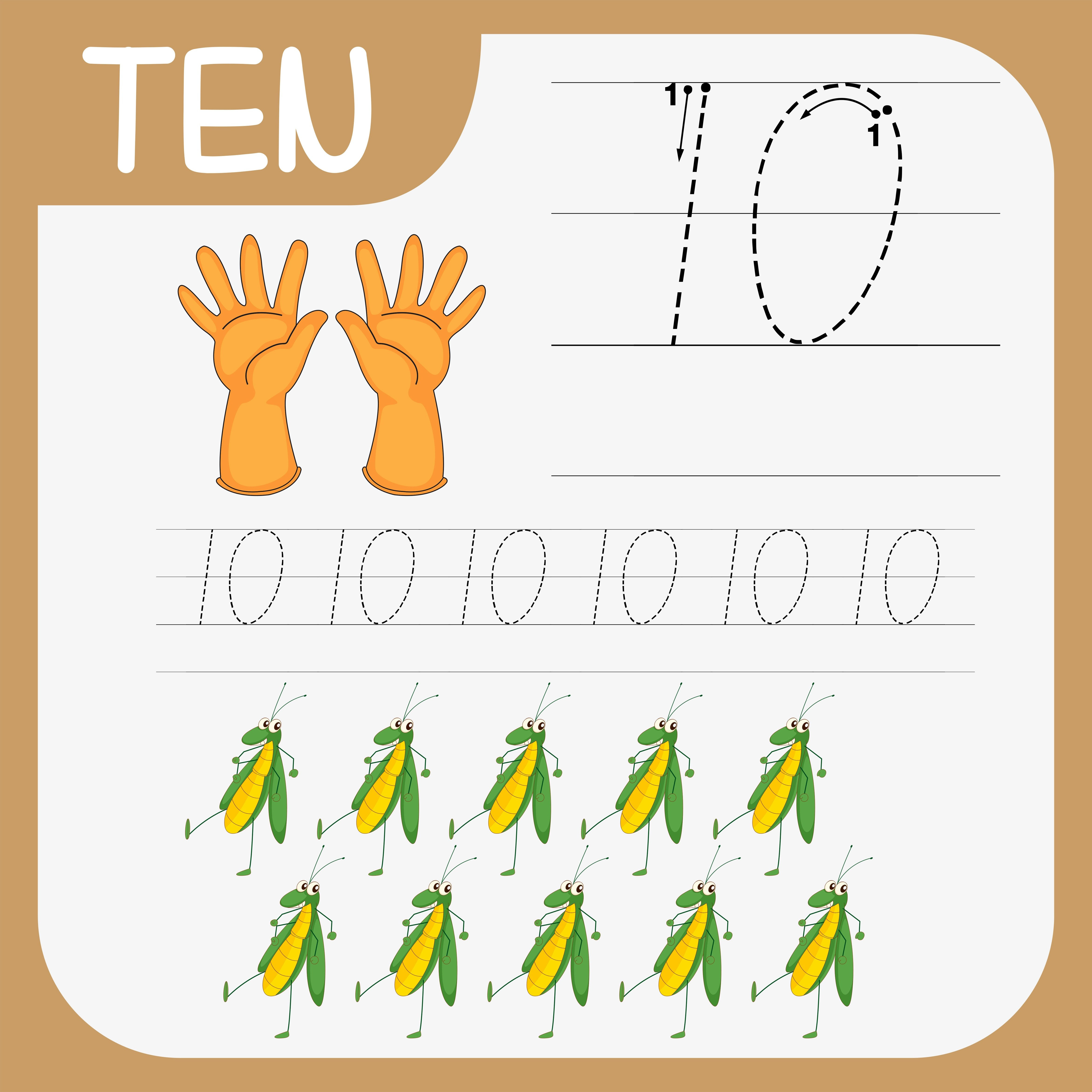 Number Ten Tracing Worksheets