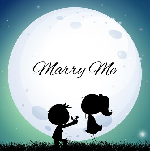 Download Love couple proposing marriage on full moon night ...
