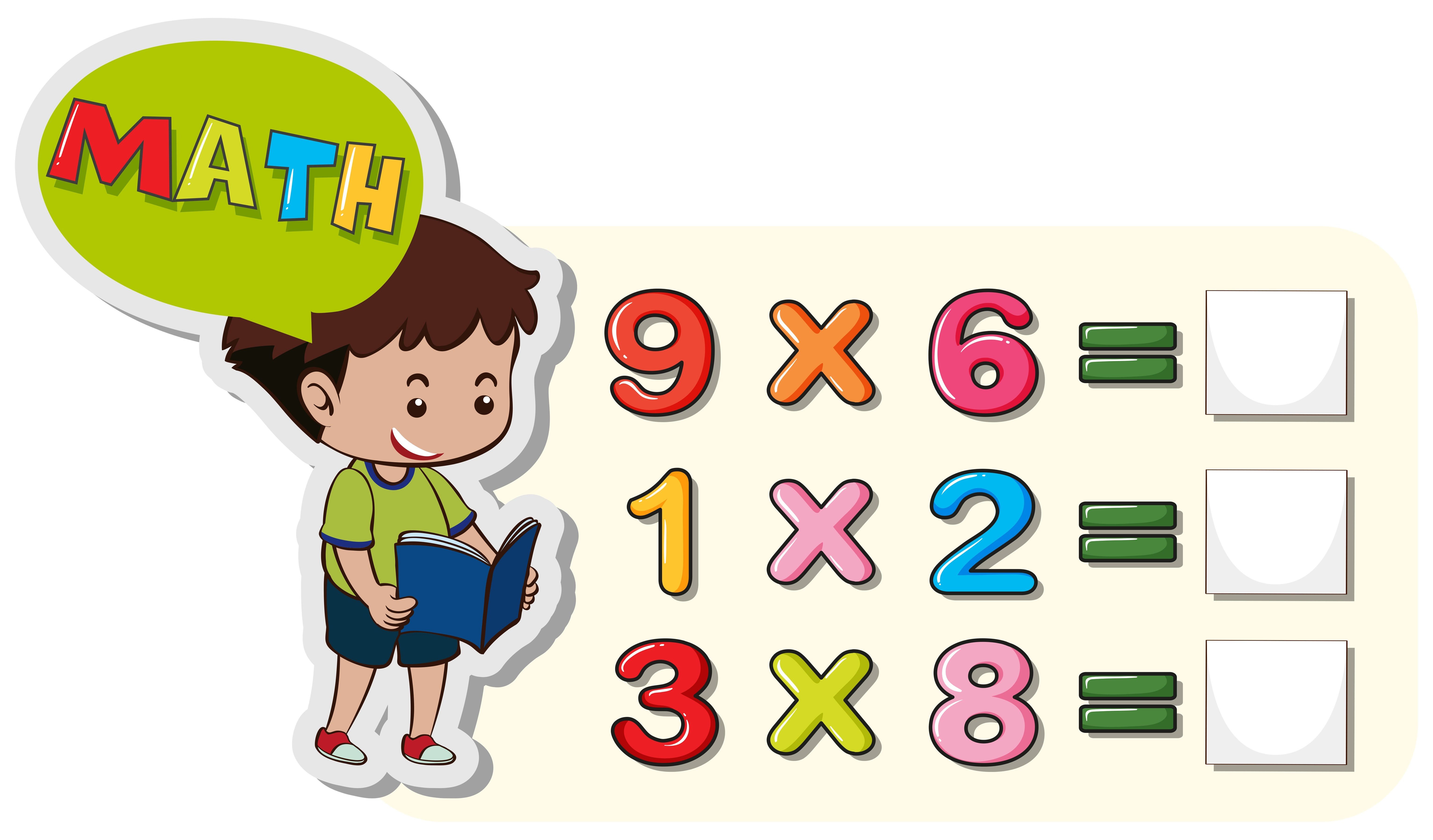 Math Worksheet Template With Boy And Multiplication